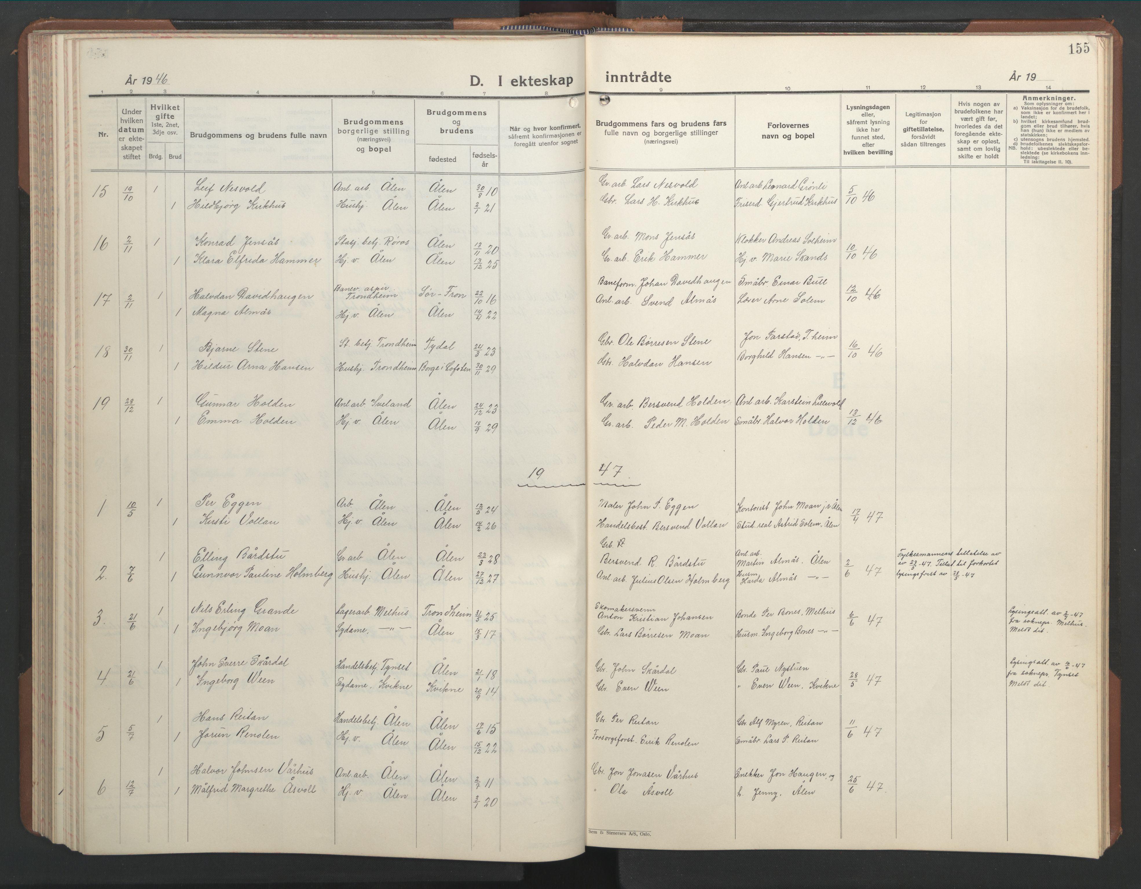 SAT, Ministerialprotokoller, klokkerbøker og fødselsregistre - Sør-Trøndelag, 686/L0986: Klokkerbok nr. 686C02, 1933-1950, s. 155