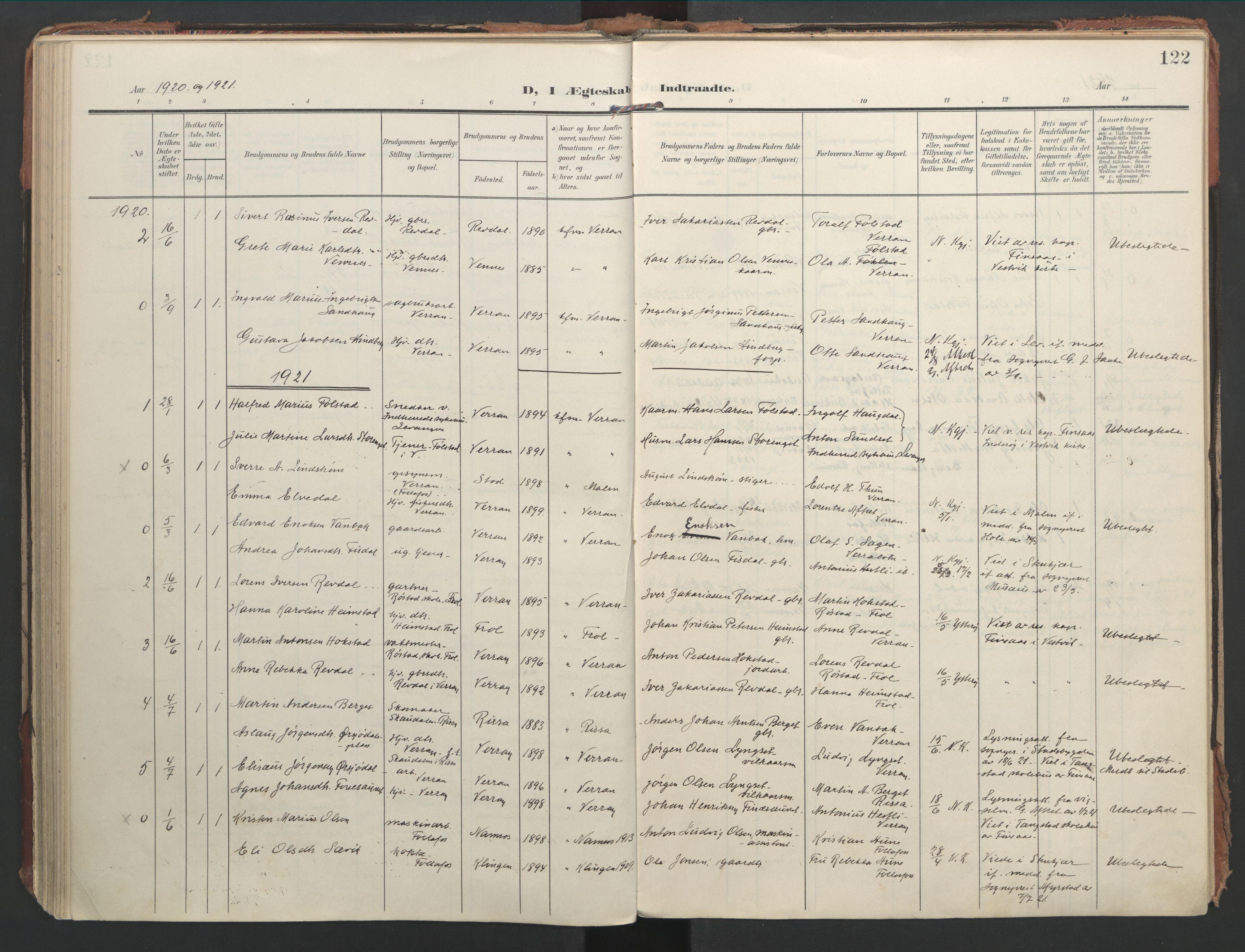 SAT, Ministerialprotokoller, klokkerbøker og fødselsregistre - Nord-Trøndelag, 744/L0421: Ministerialbok nr. 744A05, 1905-1930, s. 122