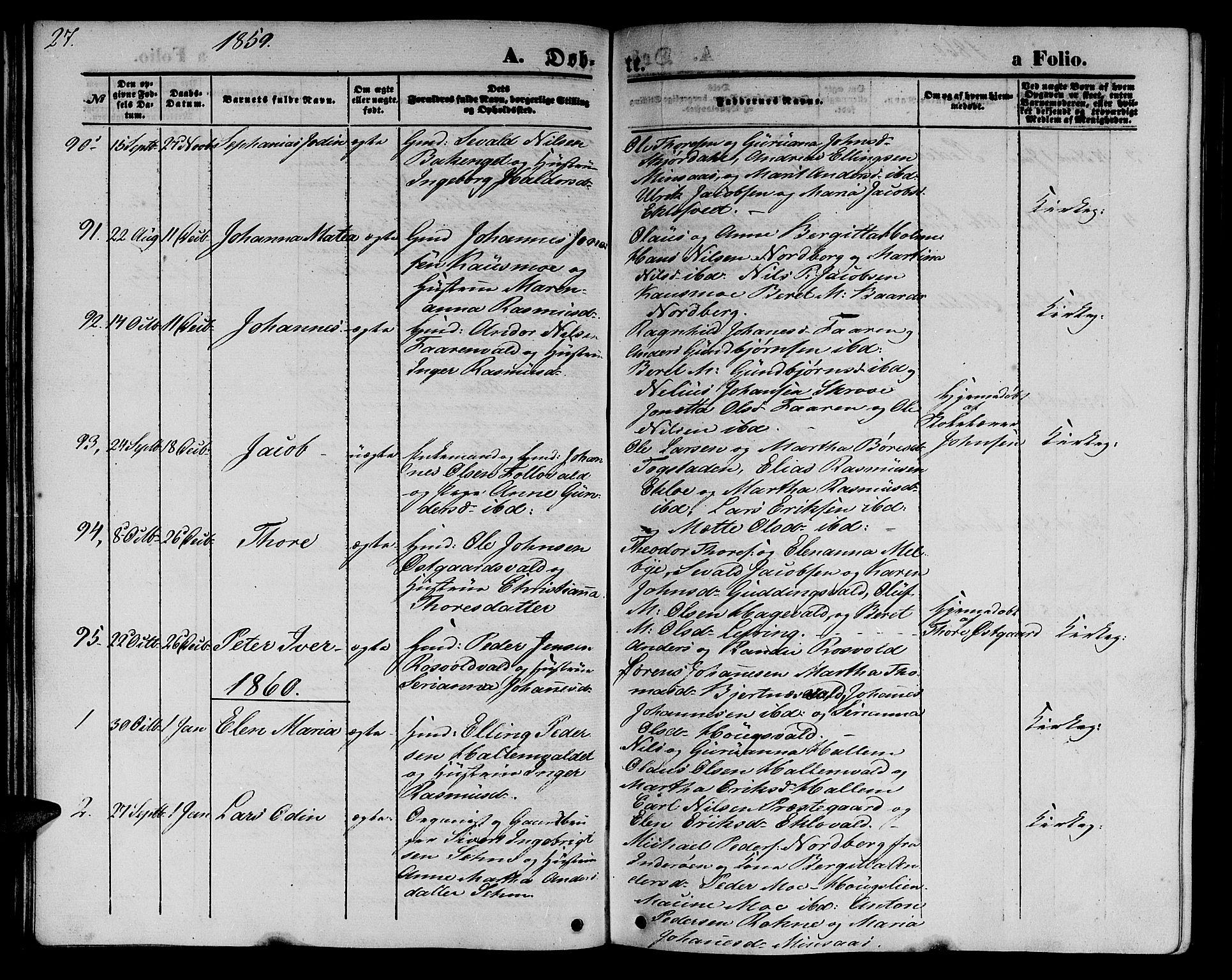 SAT, Ministerialprotokoller, klokkerbøker og fødselsregistre - Nord-Trøndelag, 723/L0254: Klokkerbok nr. 723C02, 1858-1868, s. 27
