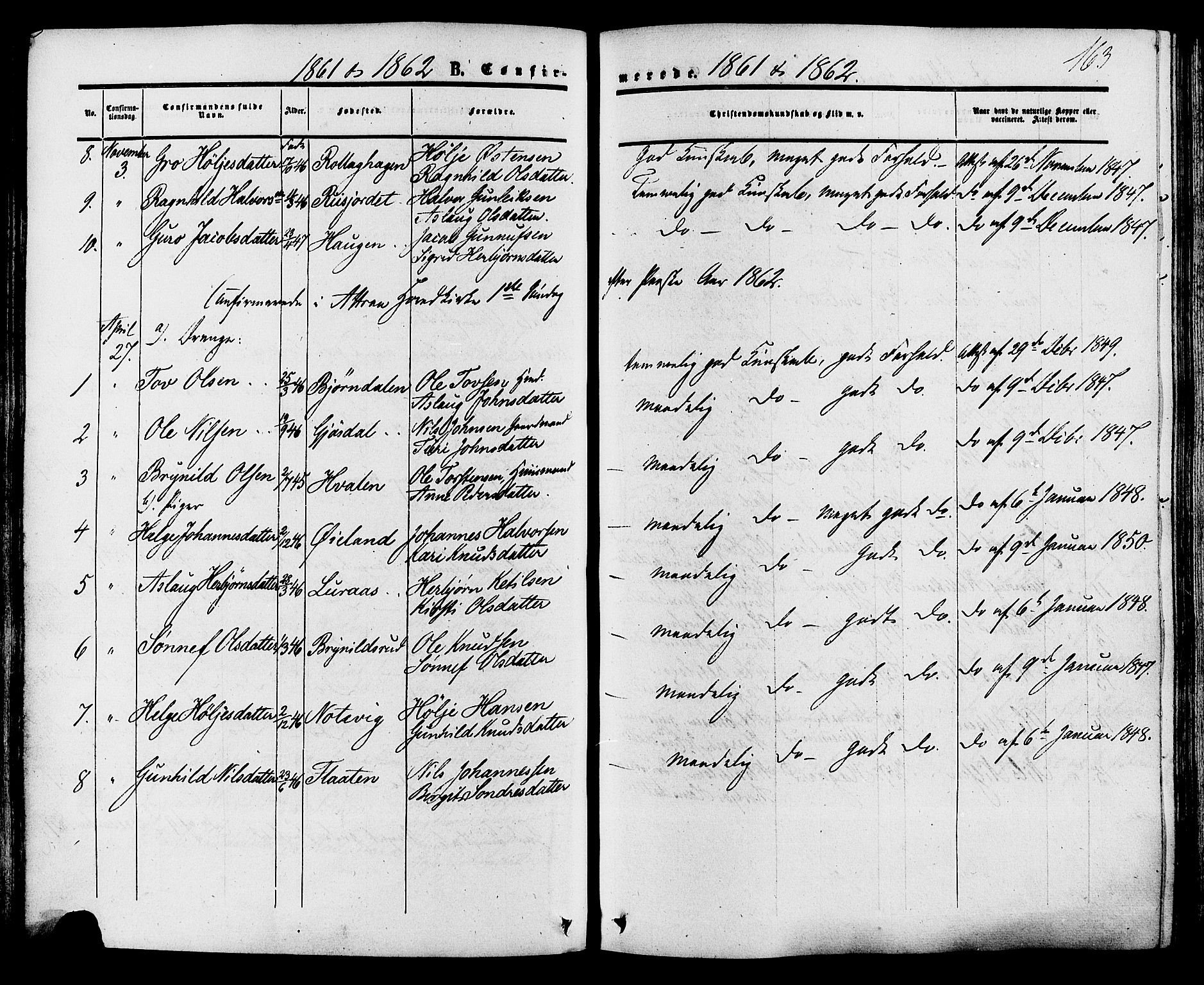 SAKO, Tinn kirkebøker, F/Fa/L0006: Ministerialbok nr. I 6, 1857-1878, s. 163