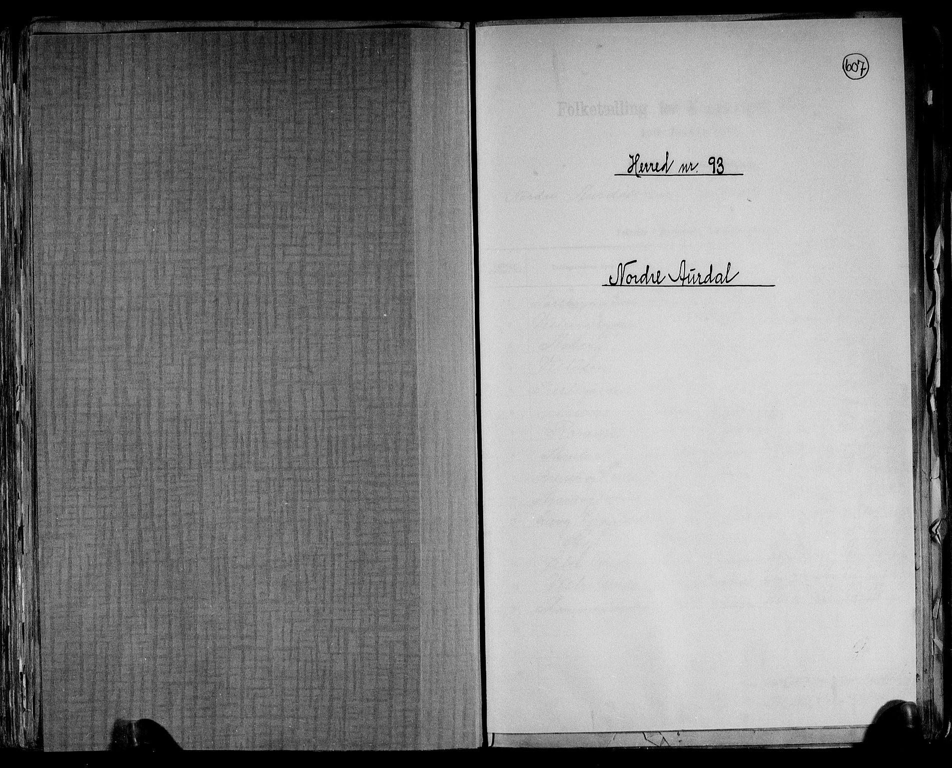 RA, Folketelling 1891 for 0542 Nord-Aurdal herred, 1891, s. 1