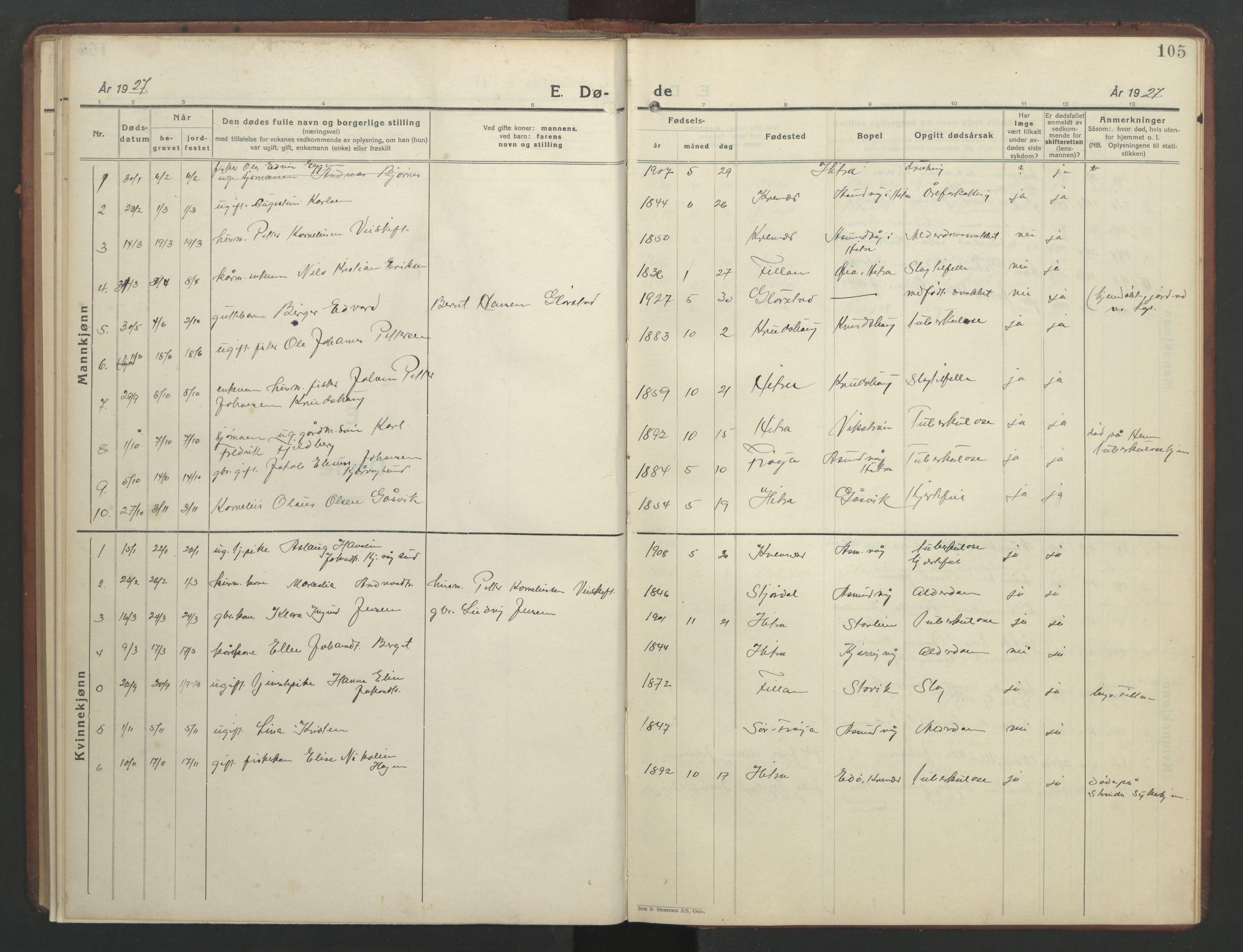 SAT, Ministerialprotokoller, klokkerbøker og fødselsregistre - Sør-Trøndelag, 634/L0544: Klokkerbok nr. 634C06, 1927-1948, s. 105