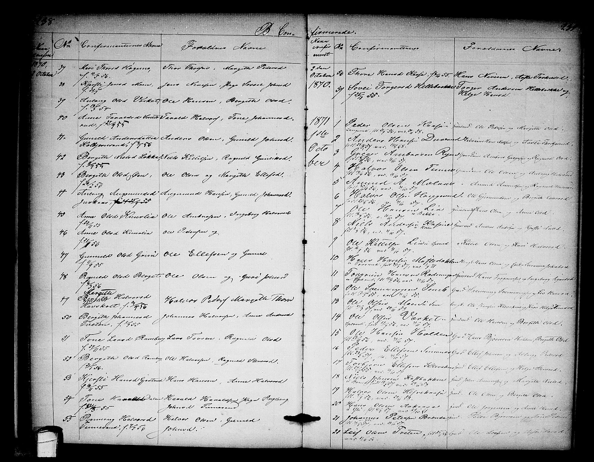 SAKO, Heddal kirkebøker, G/Ga/L0001: Klokkerbok nr. I 1, 1866-1878, s. 238-239