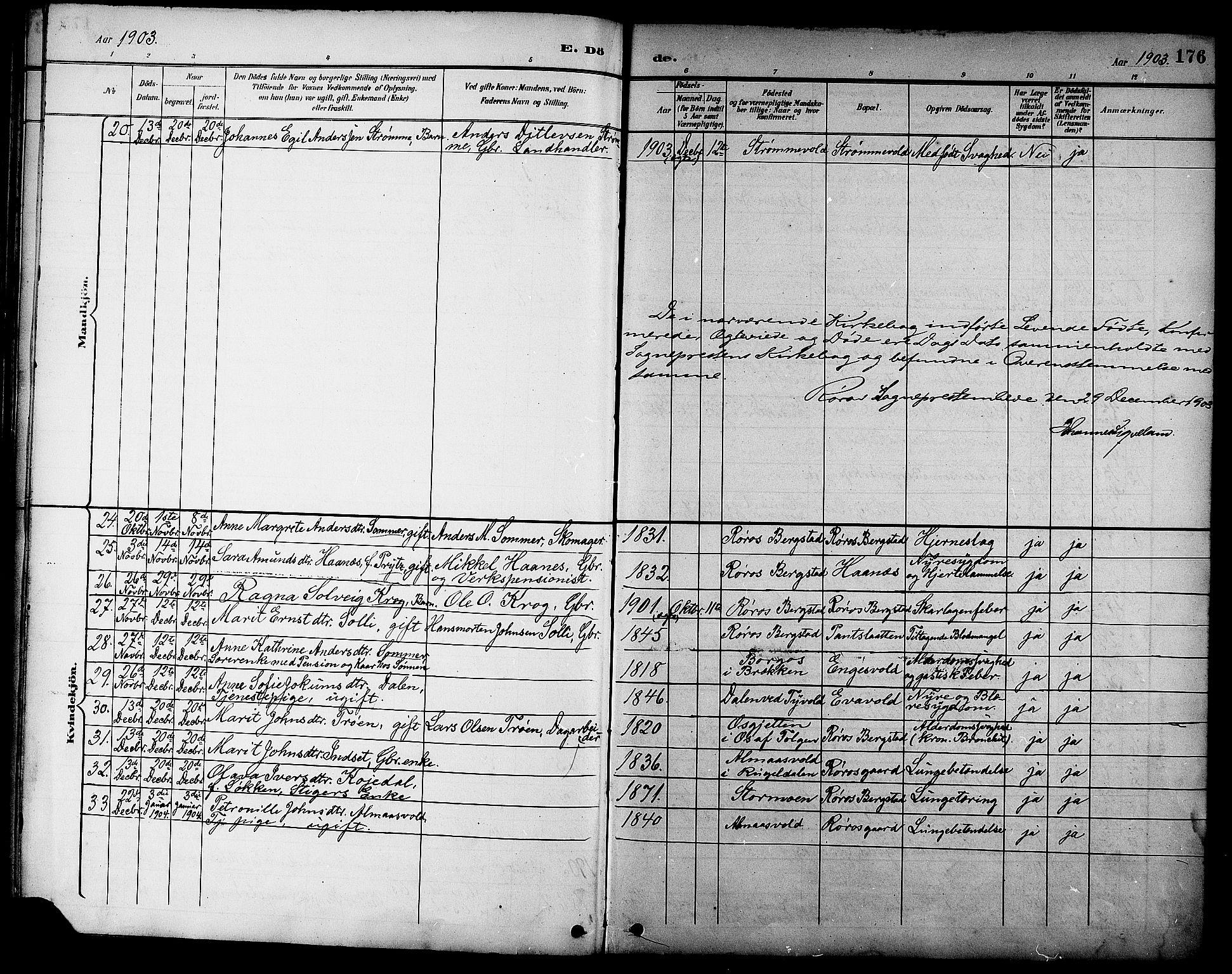 SAT, Ministerialprotokoller, klokkerbøker og fødselsregistre - Sør-Trøndelag, 681/L0941: Klokkerbok nr. 681C05, 1896-1905, s. 176