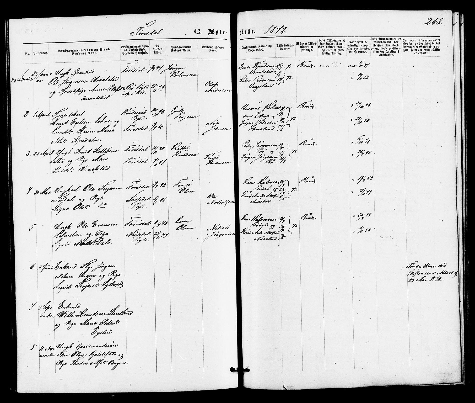 SAKO, Drangedal kirkebøker, F/Fa/L0009: Ministerialbok nr. 9 /2, 1872-1884, s. 268