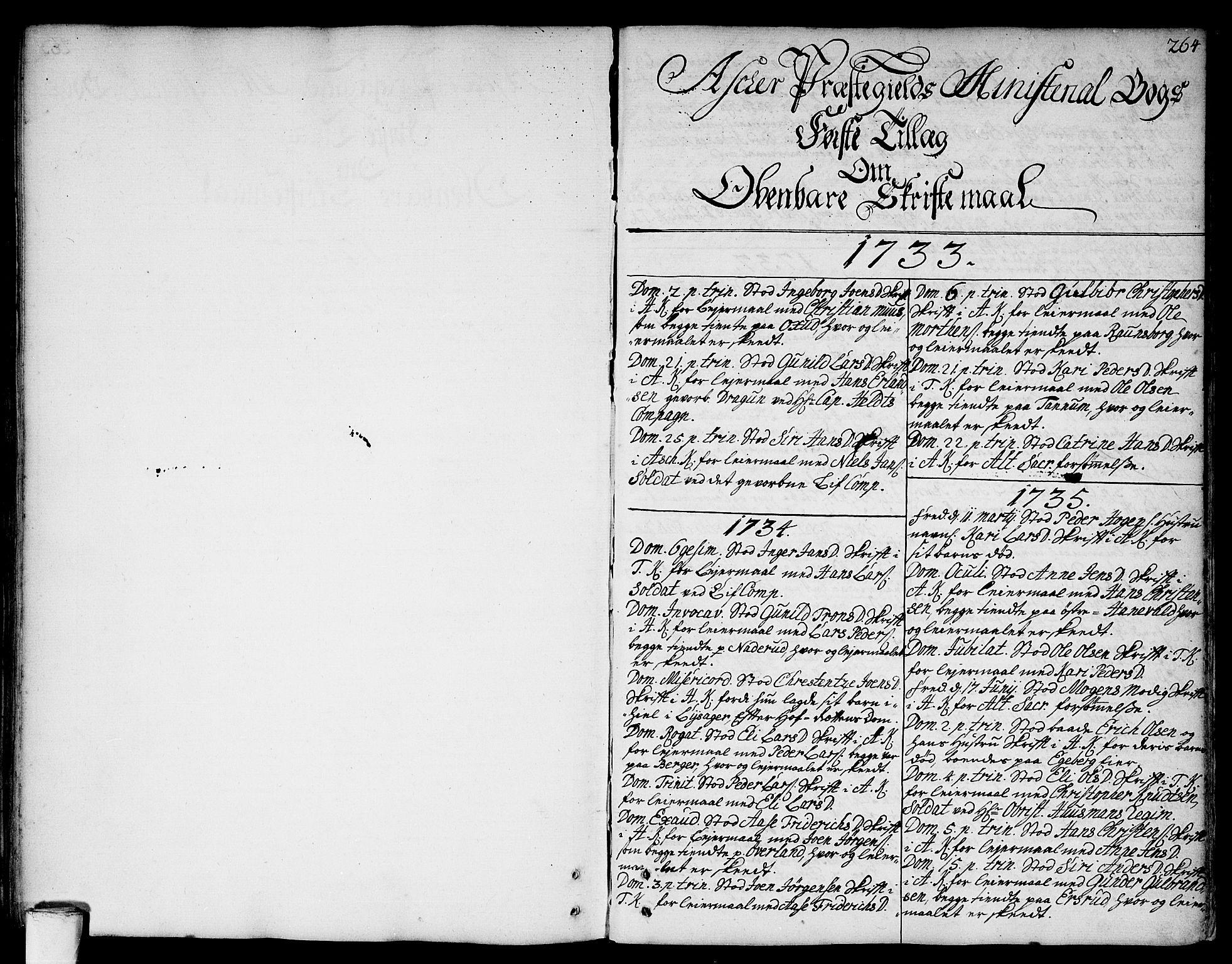 SAO, Asker prestekontor Kirkebøker, F/Fa/L0002: Ministerialbok nr. I 2, 1733-1766, s. 264