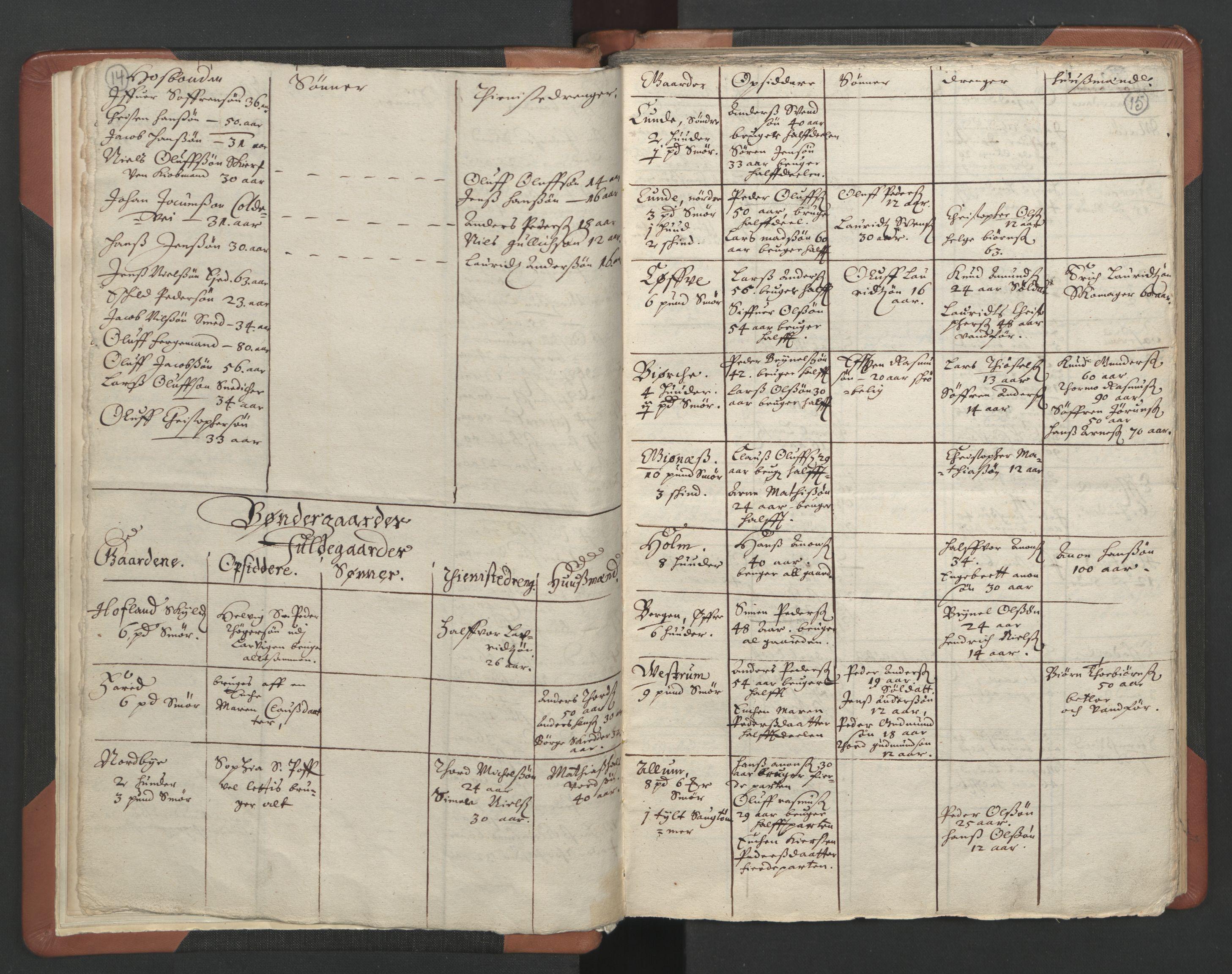 RA, Sogneprestenes manntall 1664-1666, nr. 11: Brunlanes prosti, 1664-1666, s. 14-15