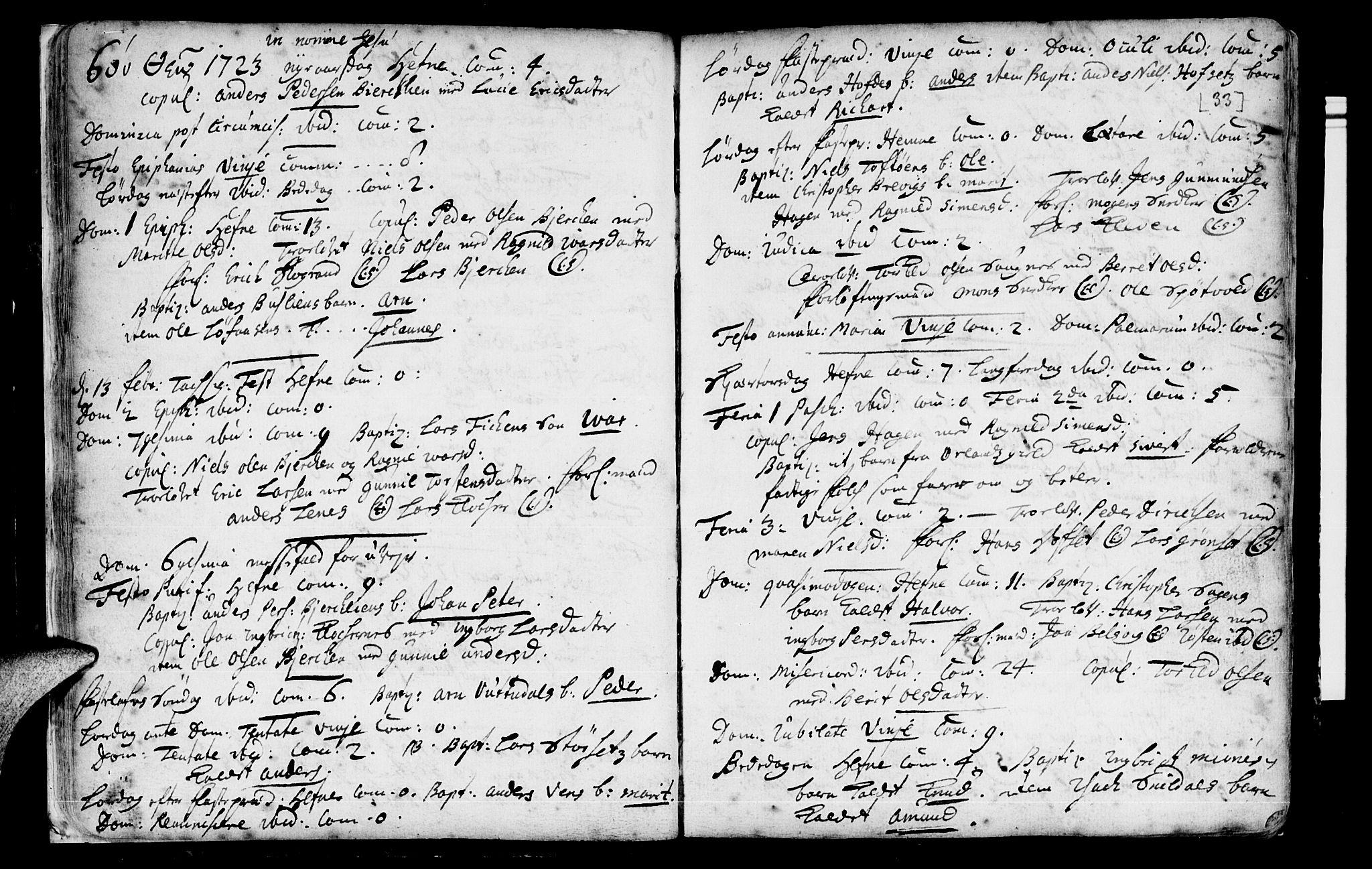 SAT, Ministerialprotokoller, klokkerbøker og fødselsregistre - Sør-Trøndelag, 630/L0488: Ministerialbok nr. 630A01, 1717-1756, s. 32-33