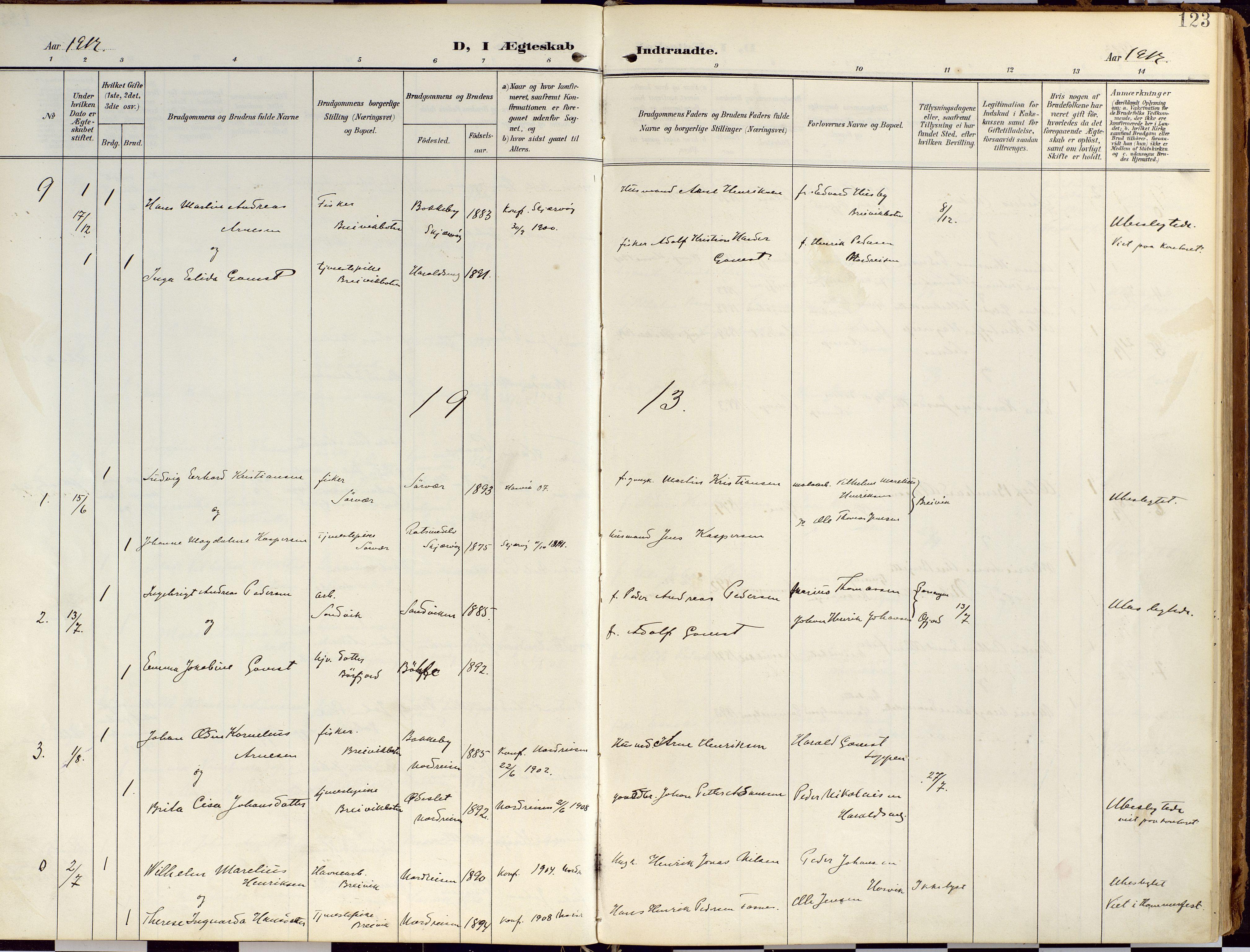 SATØ, Loppa sokneprestkontor, H/Ha/L0010kirke: Ministerialbok nr. 10, 1907-1922, s. 123
