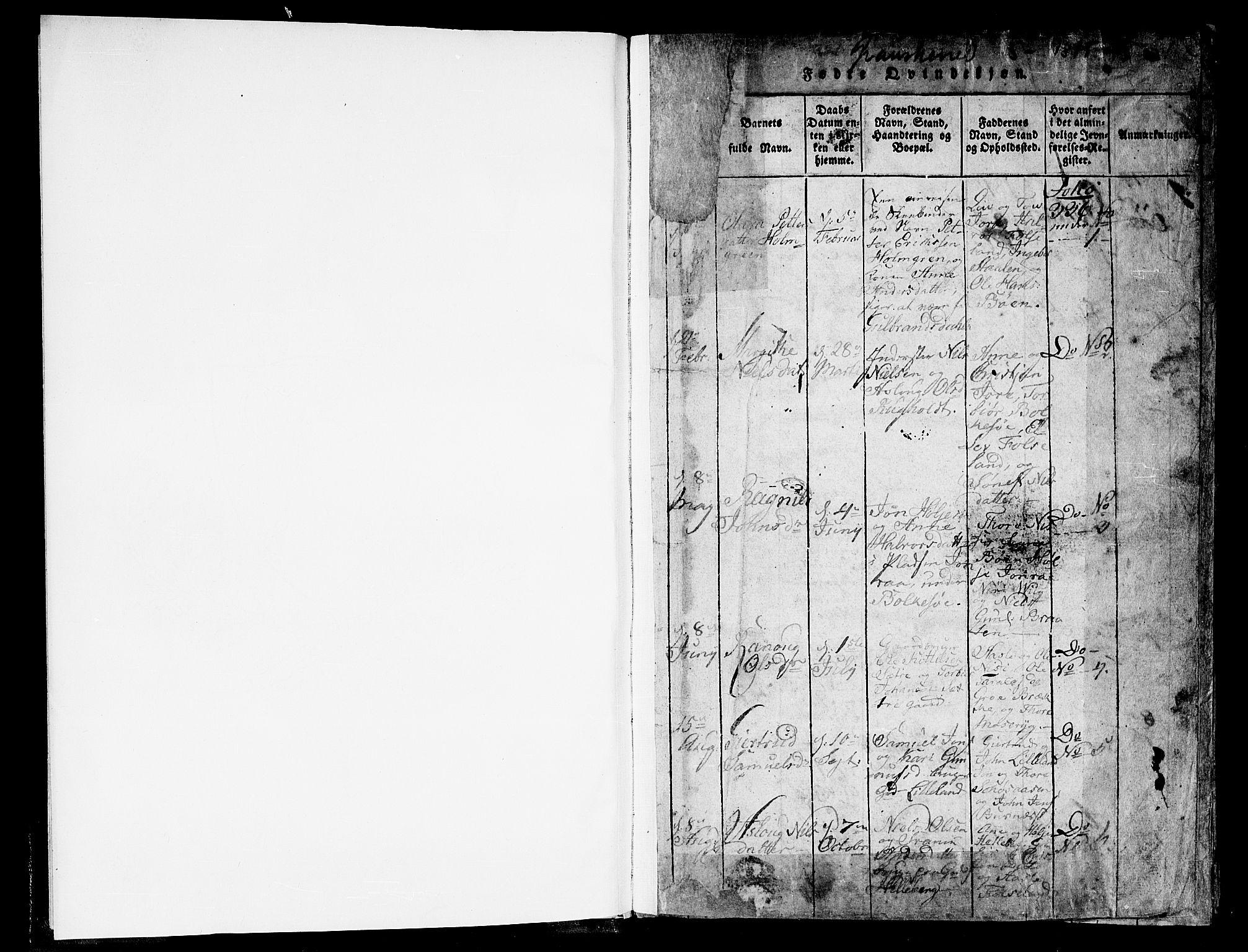 SAKO, Gransherad kirkebøker, F/Fa/L0001: Ministerialbok nr. I 1, 1815-1843, s. 1