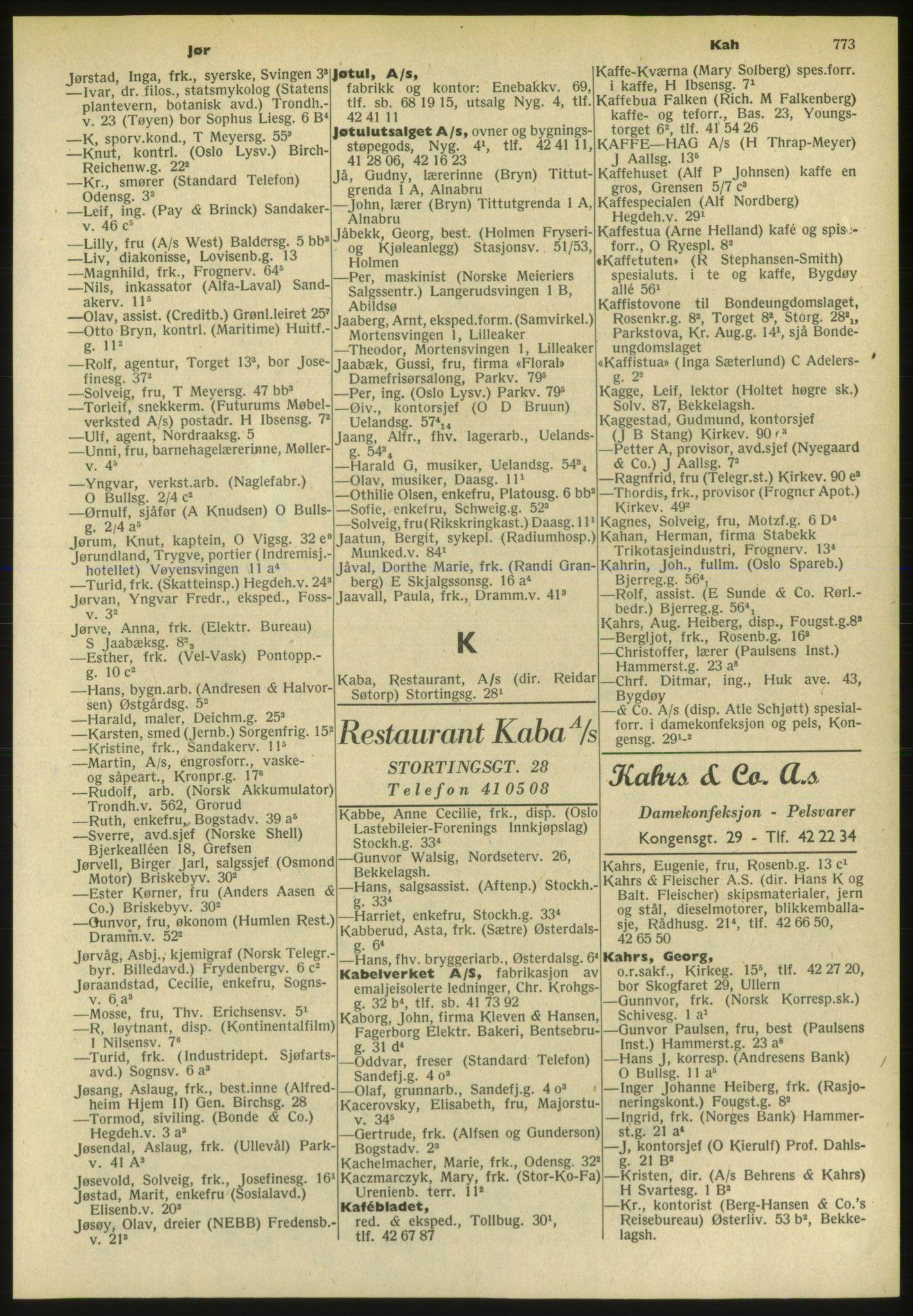 PUBL, Kristiania/Oslo adressebok, 1952, s. 773