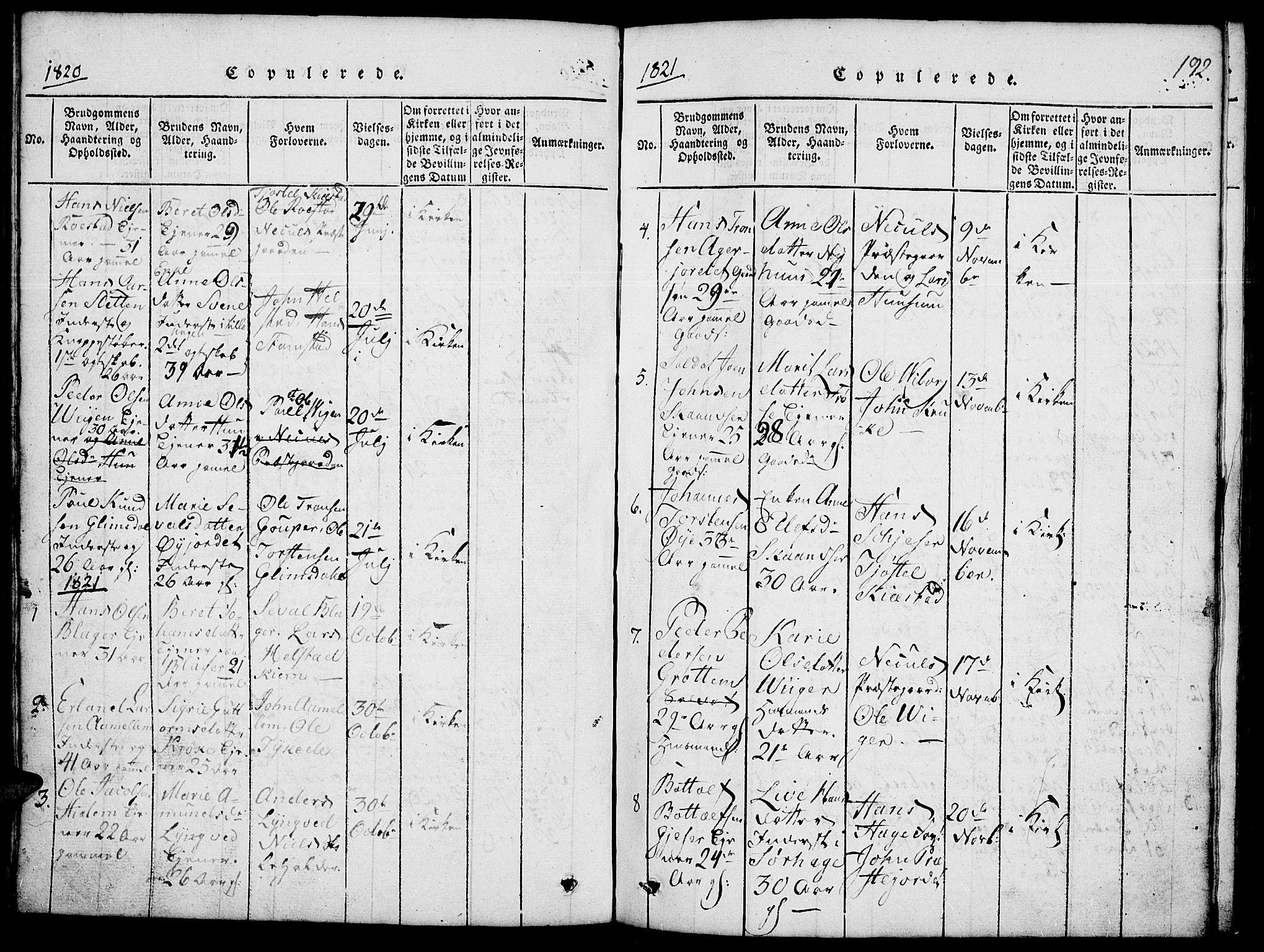 SAH, Lom prestekontor, L/L0001: Klokkerbok nr. 1, 1815-1836, s. 192