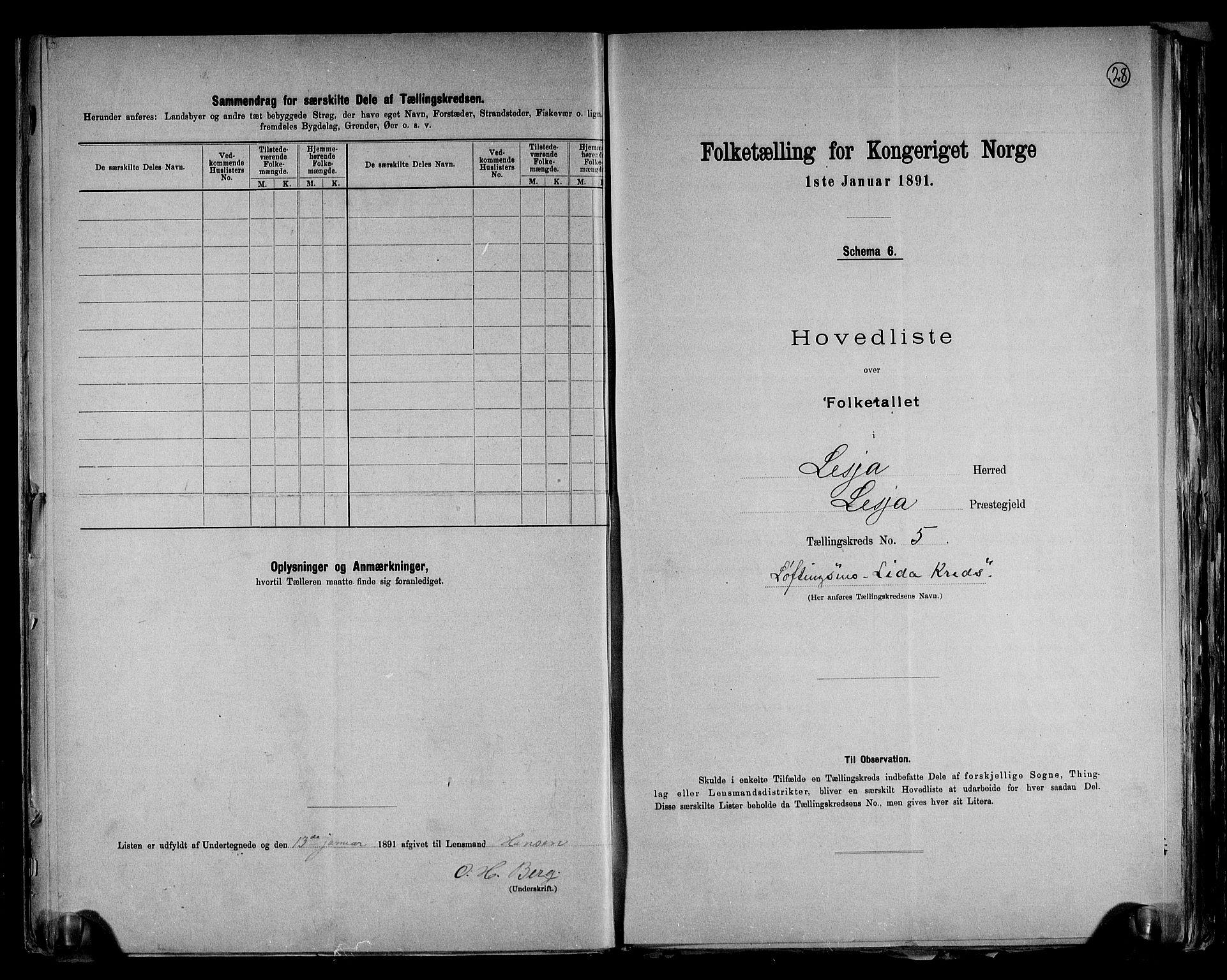 RA, Folketelling 1891 for 0512 Lesja herred, 1891, s. 13