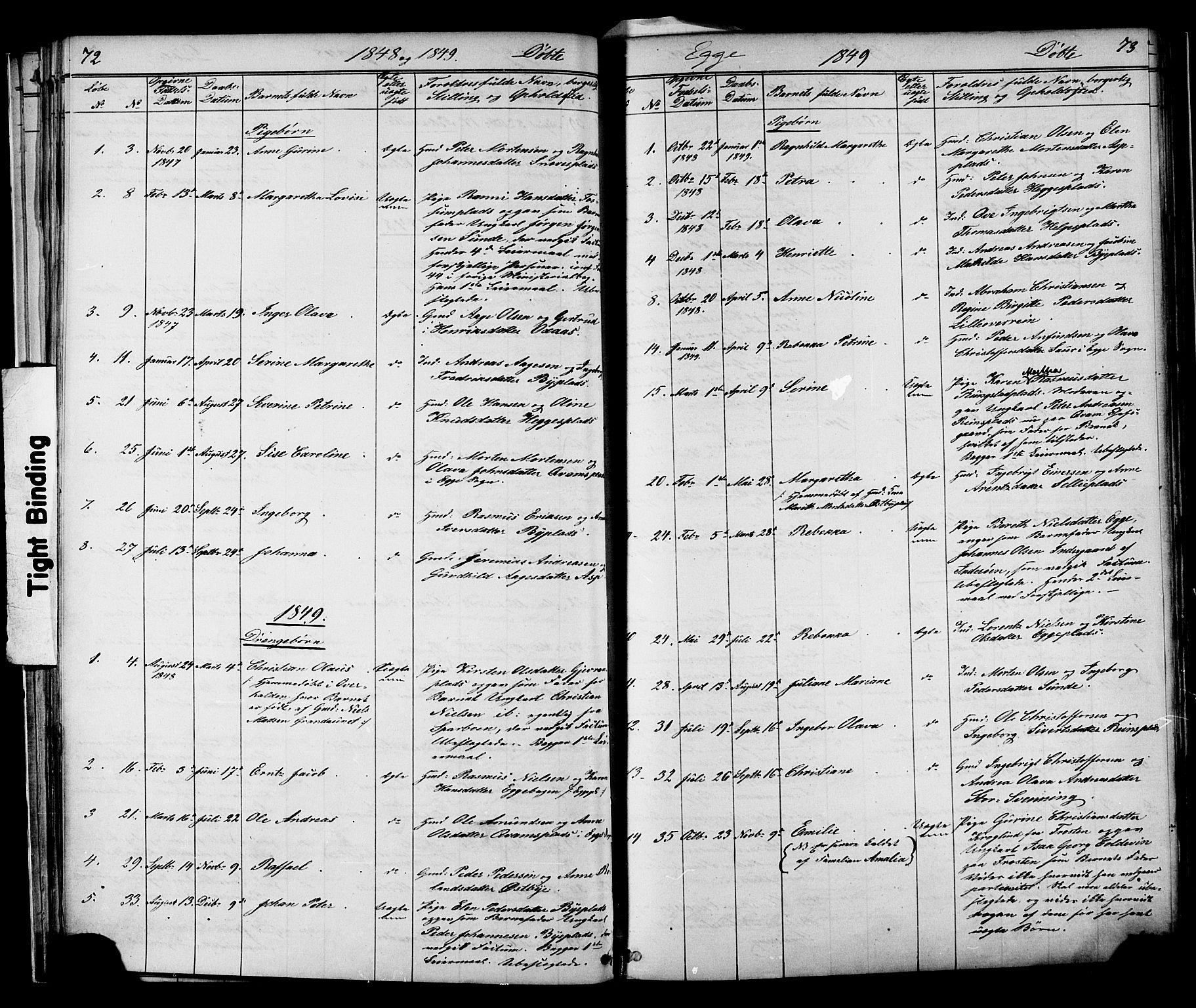 SAT, Ministerialprotokoller, klokkerbøker og fødselsregistre - Nord-Trøndelag, 739/L0367: Ministerialbok nr. 739A01 /3, 1838-1868, s. 72-73