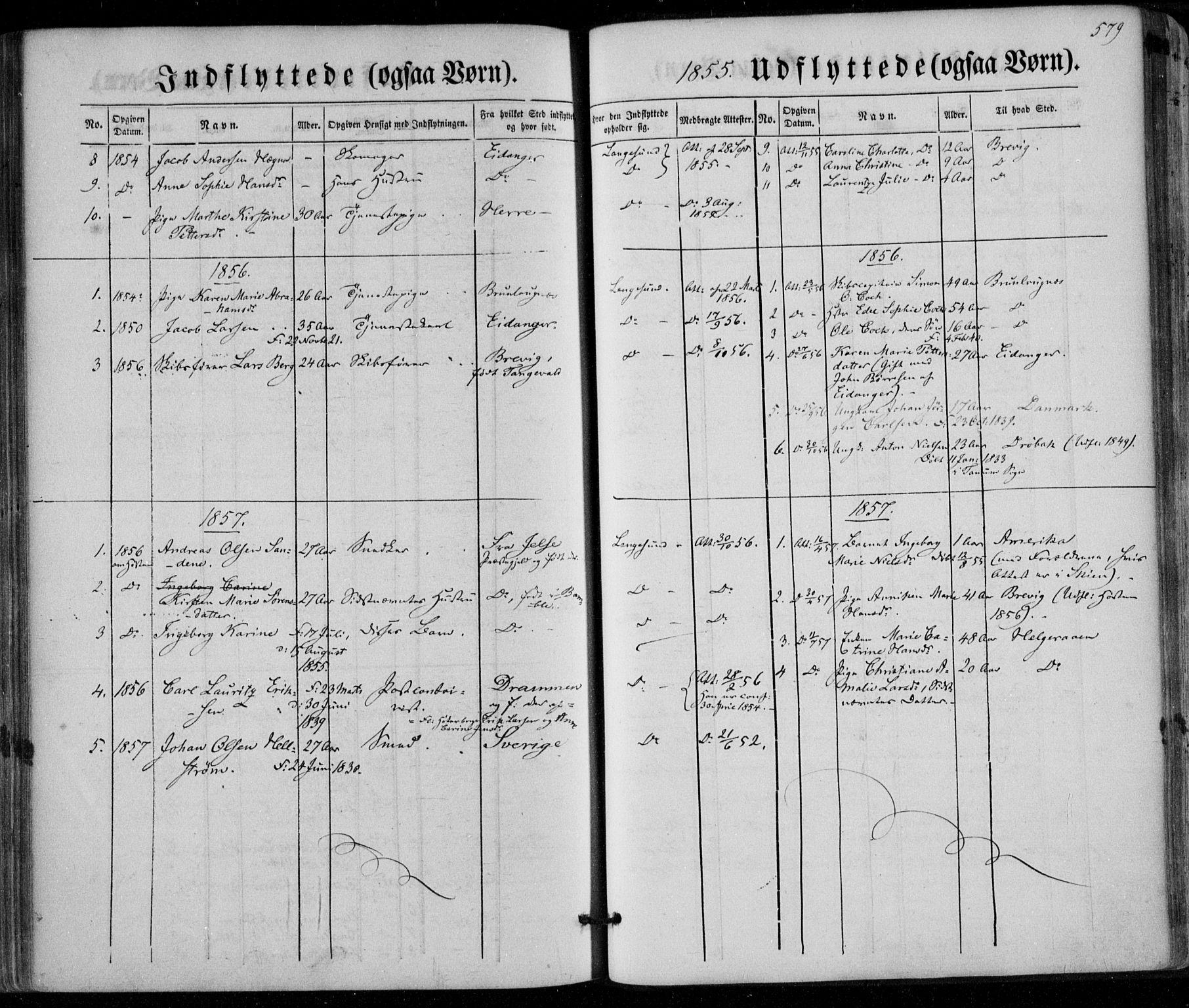 SAKO, Bamble kirkebøker, F/Fa/L0005: Ministerialbok nr. I 5, 1854-1869, s. 579