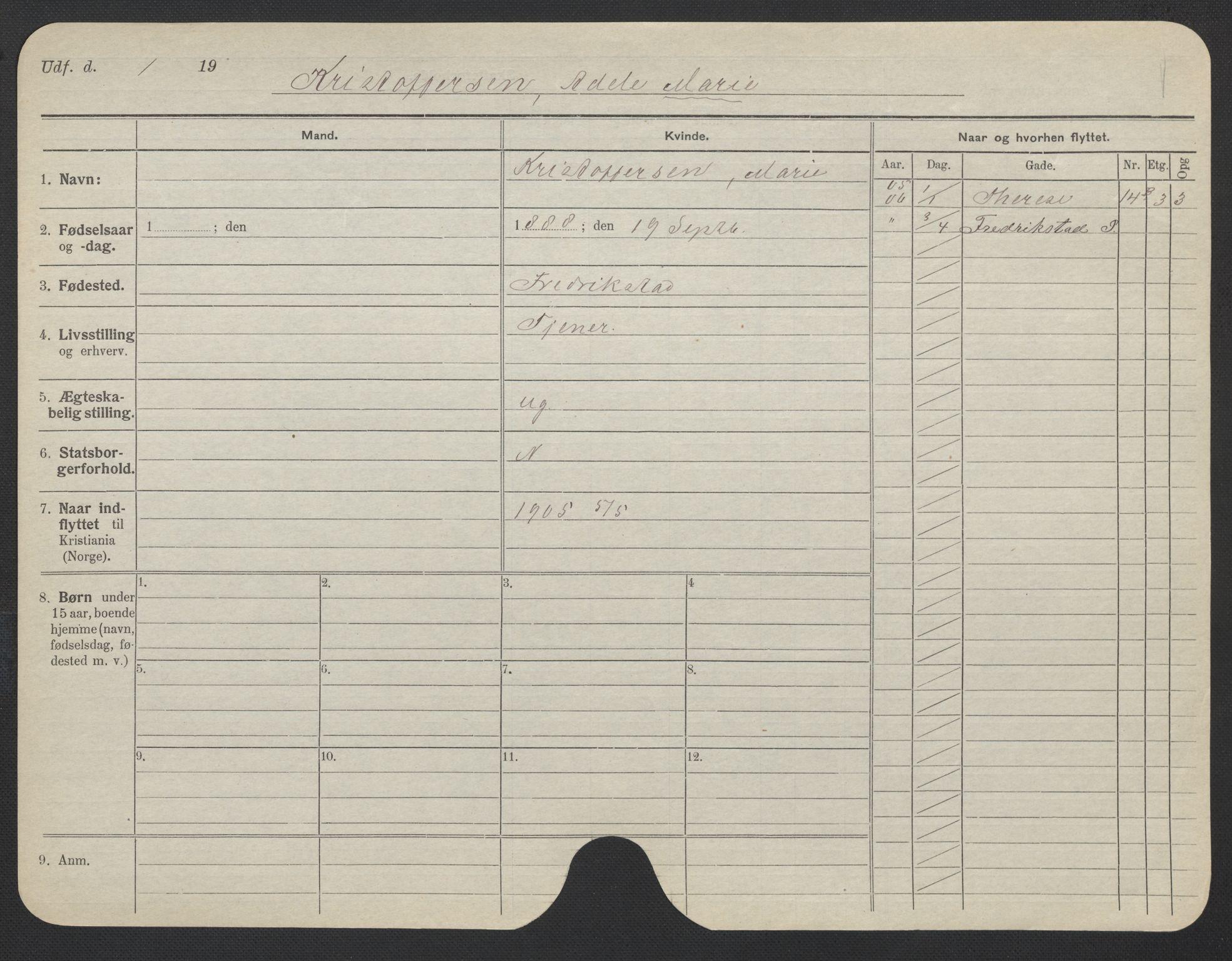 SAO, Oslo folkeregister, Registerkort, F/Fa/Fac/L0019: Kvinner, 1906-1914, s. 551a