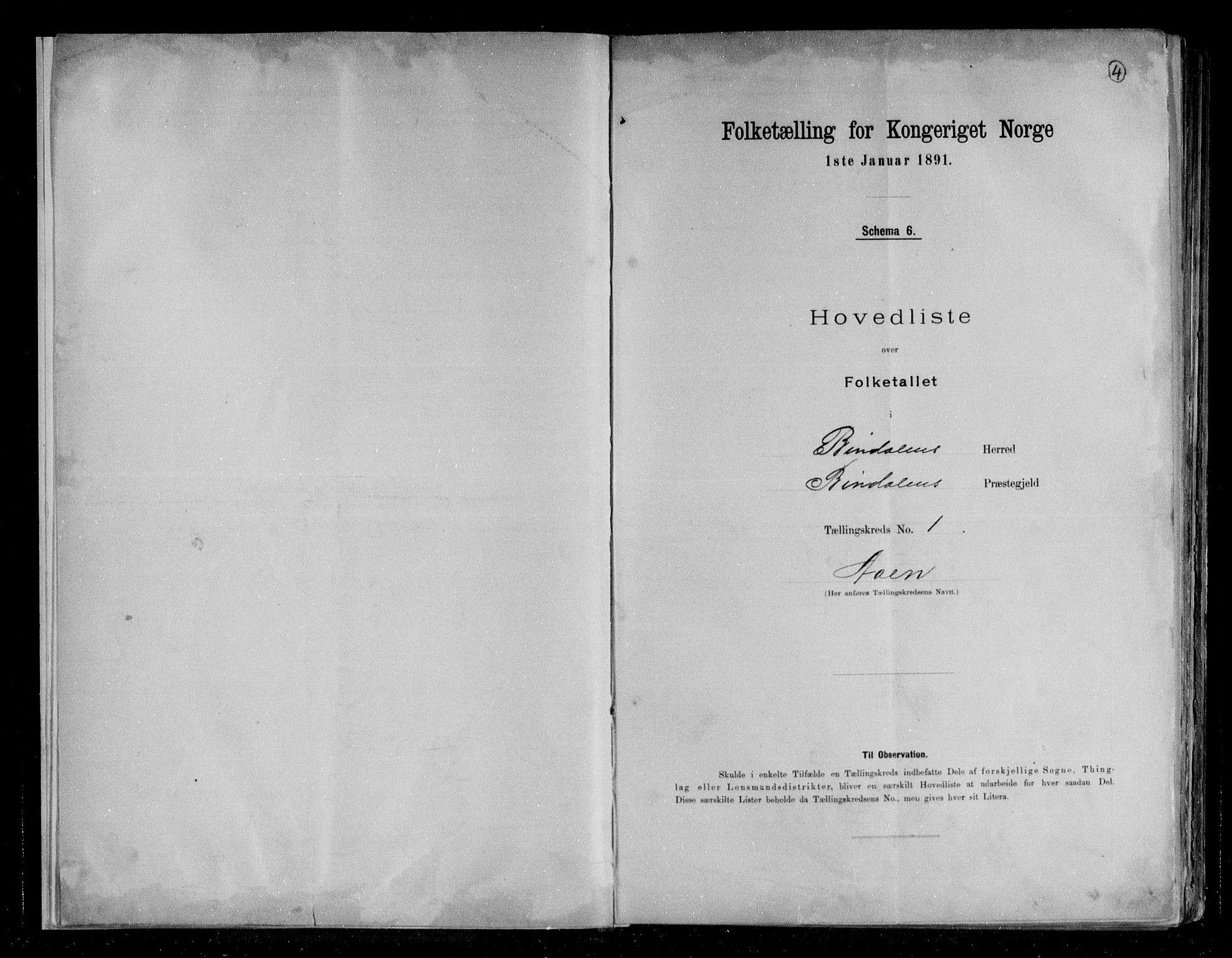RA, Folketelling 1891 for 1811 Bindal herred, 1891, s. 4