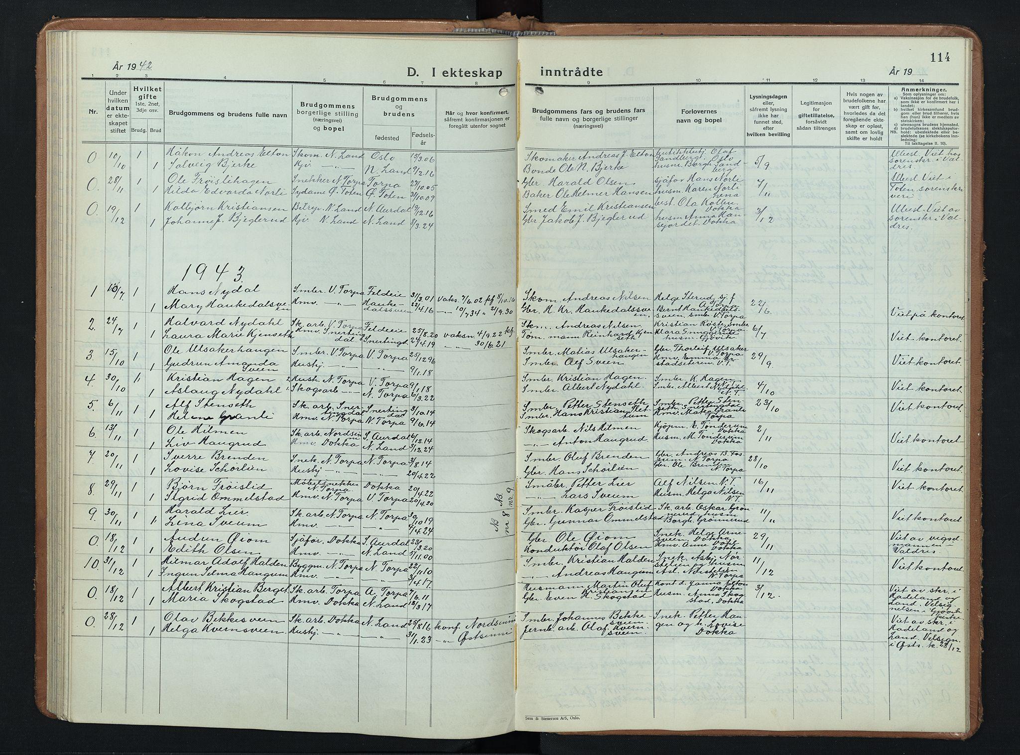 SAH, Nordre Land prestekontor, Klokkerbok nr. 3, 1932-1946, s. 114
