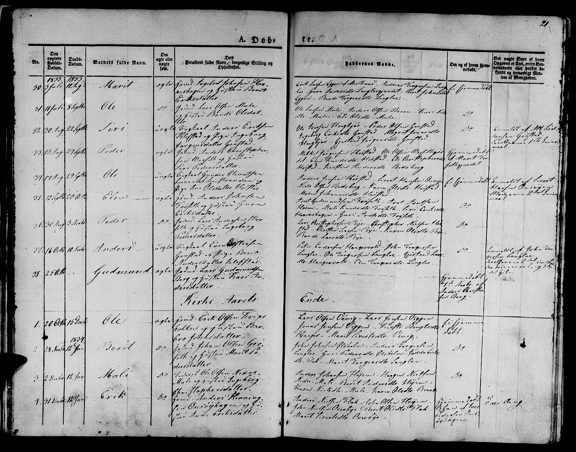 SAT, Ministerialprotokoller, klokkerbøker og fødselsregistre - Sør-Trøndelag, 612/L0374: Ministerialbok nr. 612A07 /1, 1829-1845, s. 21