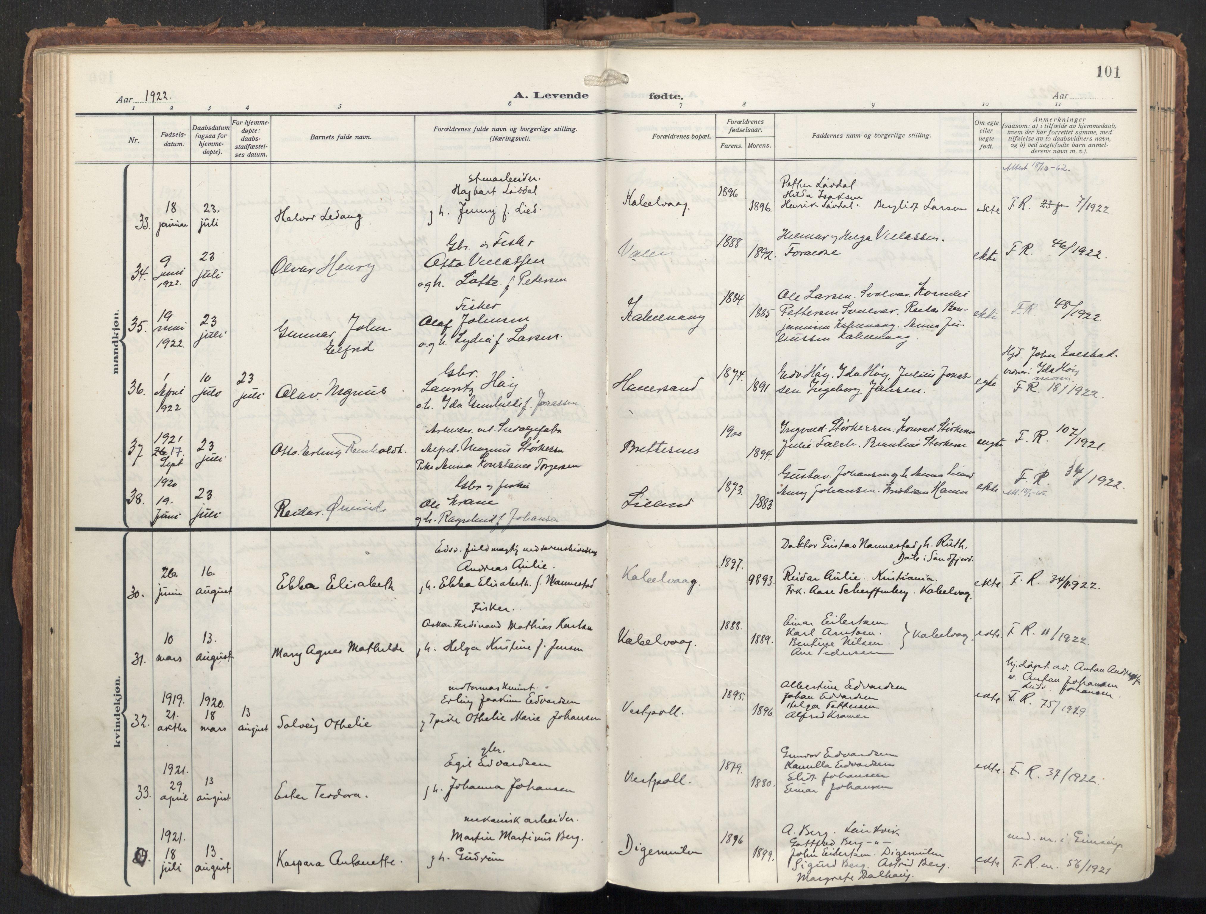 SAT, Ministerialprotokoller, klokkerbøker og fødselsregistre - Nordland, 874/L1064: Ministerialbok nr. 874A08, 1915-1926, s. 101