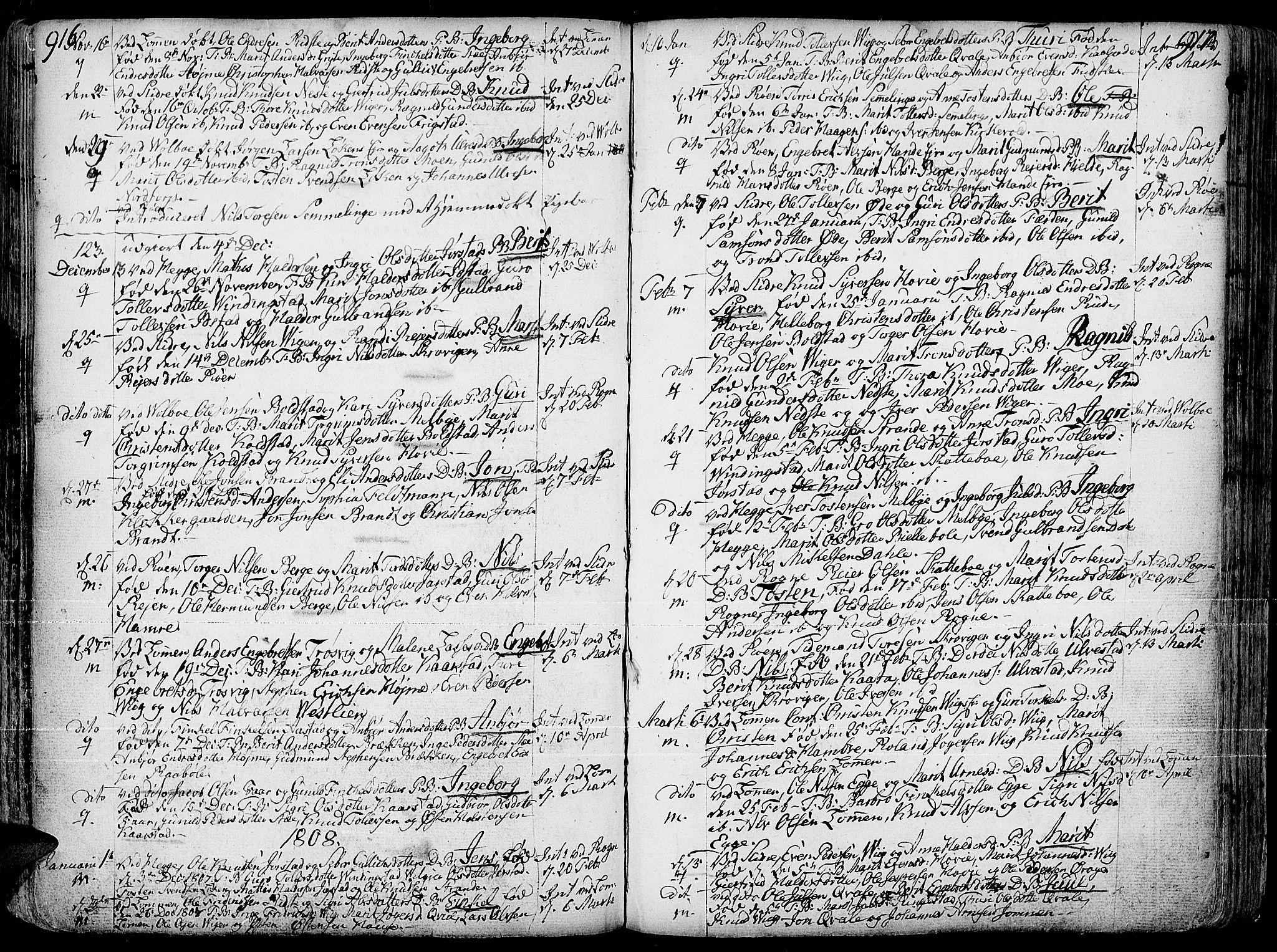 SAH, Slidre prestekontor, Ministerialbok nr. 1, 1724-1814, s. 916-917