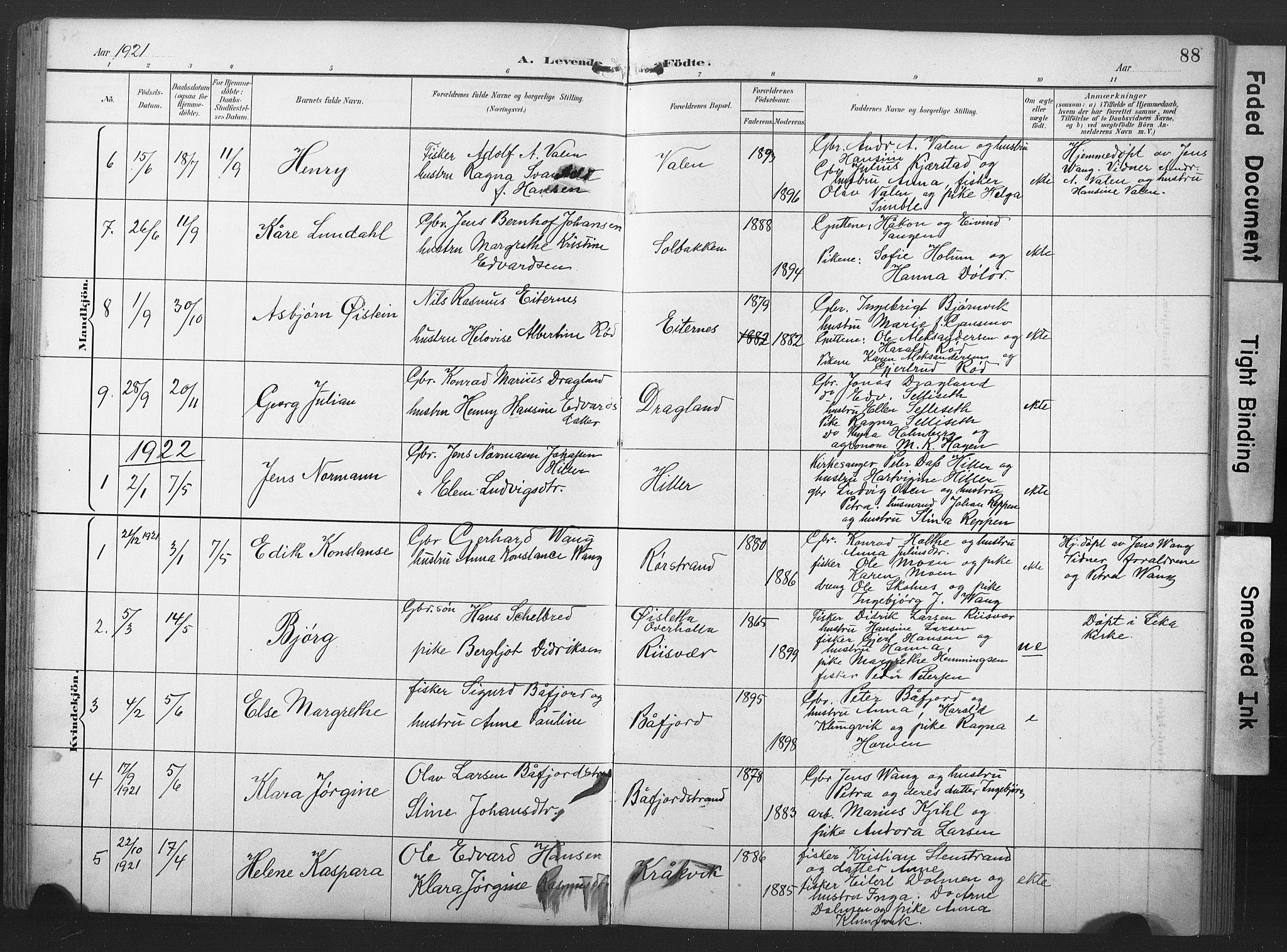 SAT, Ministerialprotokoller, klokkerbøker og fødselsregistre - Nord-Trøndelag, 789/L0706: Klokkerbok nr. 789C01, 1888-1931, s. 88