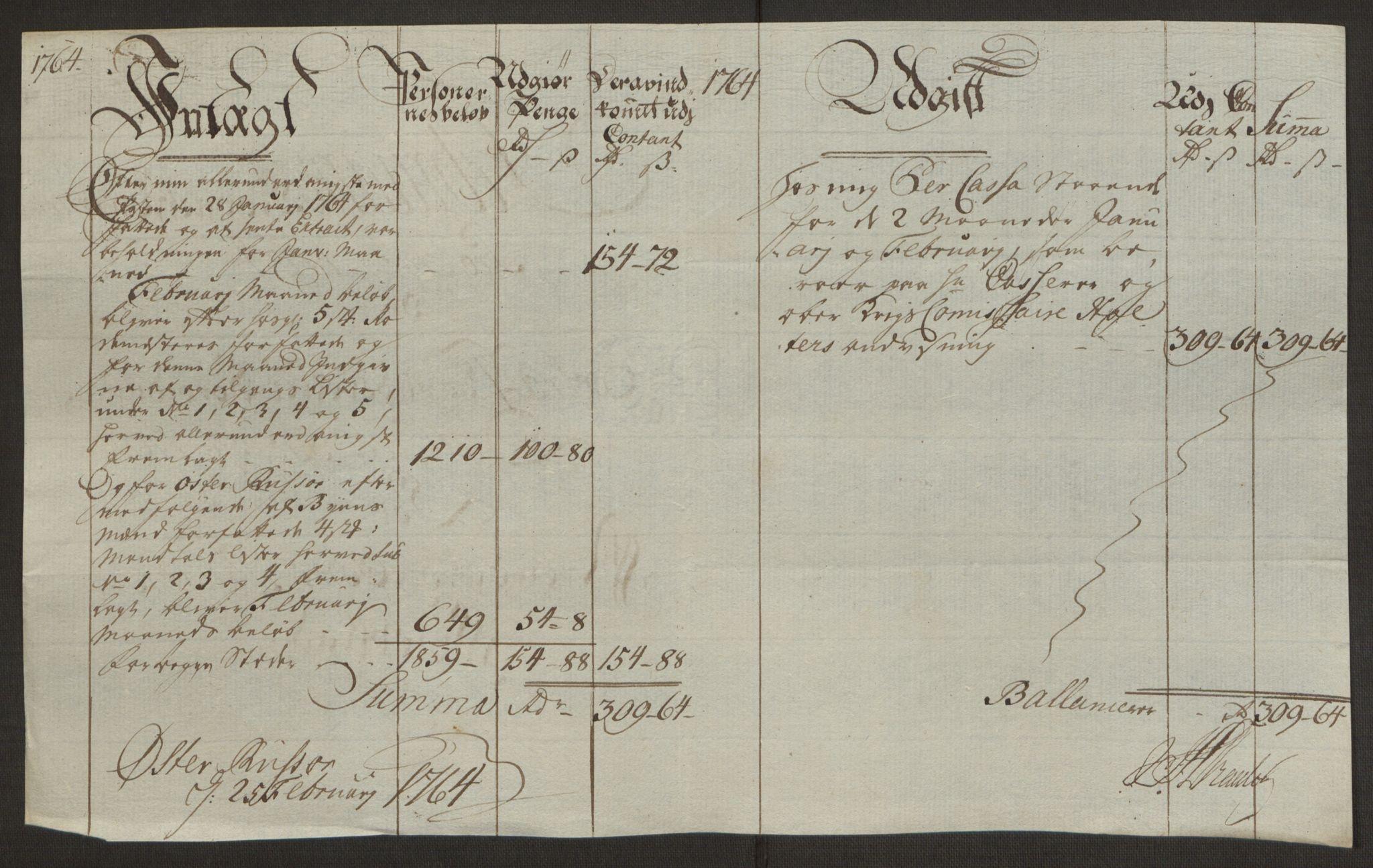 RA, Rentekammeret inntil 1814, Reviderte regnskaper, Byregnskaper, R/Rl/L0230: [L4] Kontribusjonsregnskap, 1762-1764, s. 431