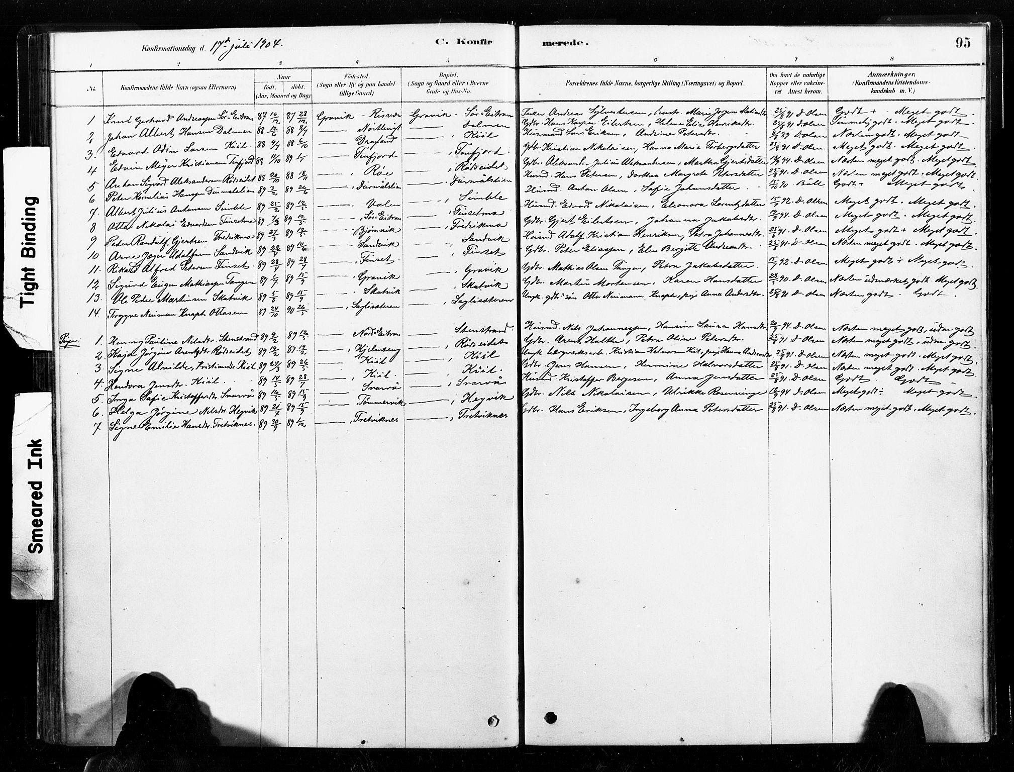 SAT, Ministerialprotokoller, klokkerbøker og fødselsregistre - Nord-Trøndelag, 789/L0705: Ministerialbok nr. 789A01, 1878-1910, s. 95