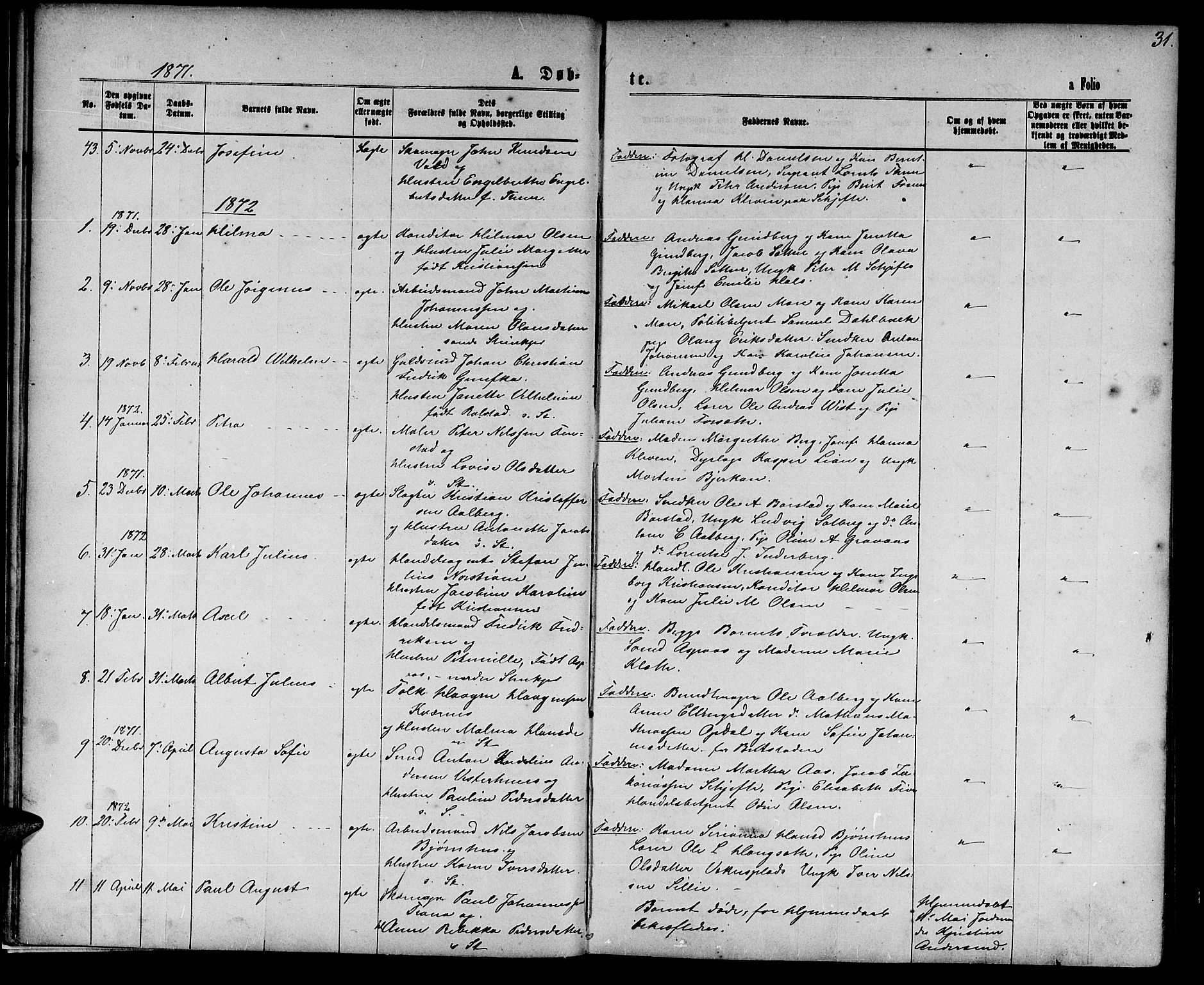 SAT, Ministerialprotokoller, klokkerbøker og fødselsregistre - Nord-Trøndelag, 739/L0373: Klokkerbok nr. 739C01, 1865-1882, s. 31