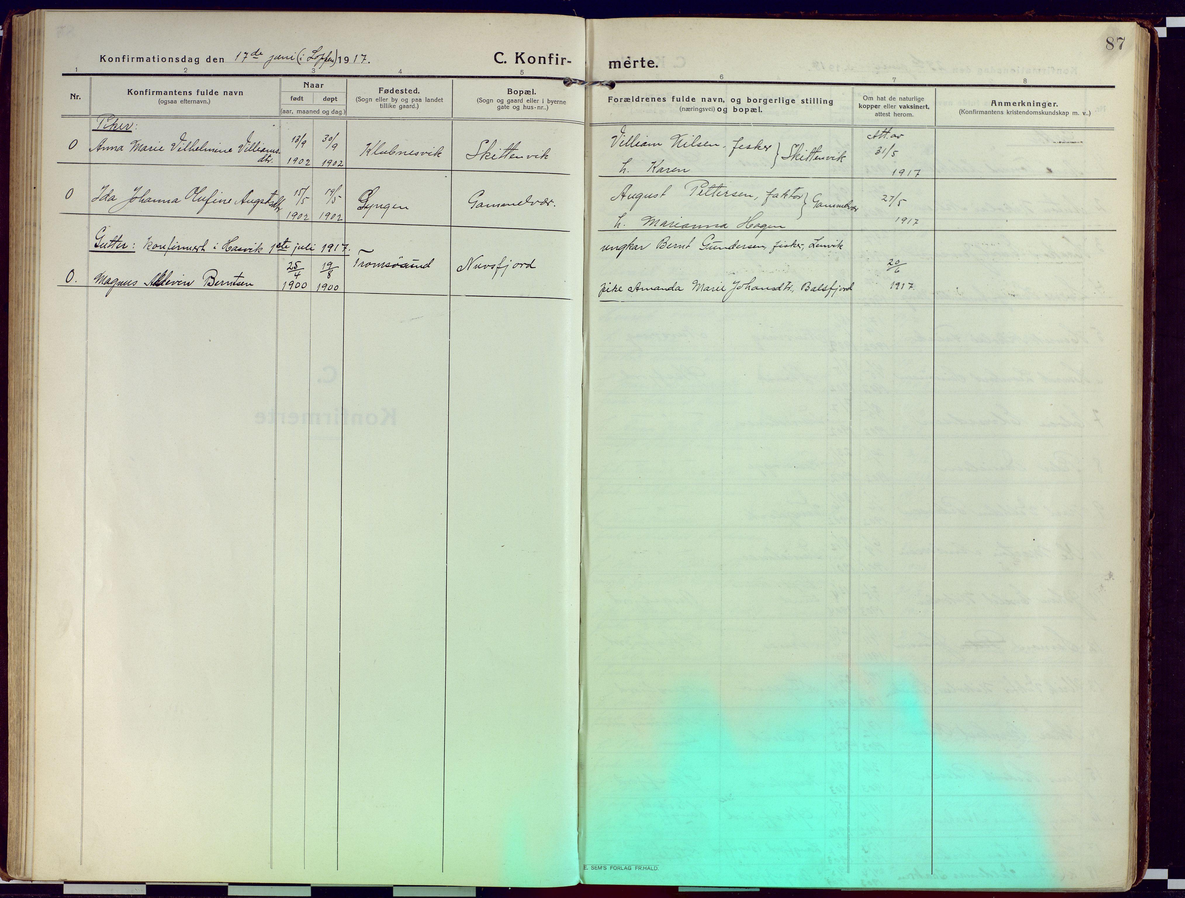 SATØ, Loppa sokneprestkontor, H/Ha/L0012kirke: Ministerialbok nr. 12, 1917-1932, s. 87