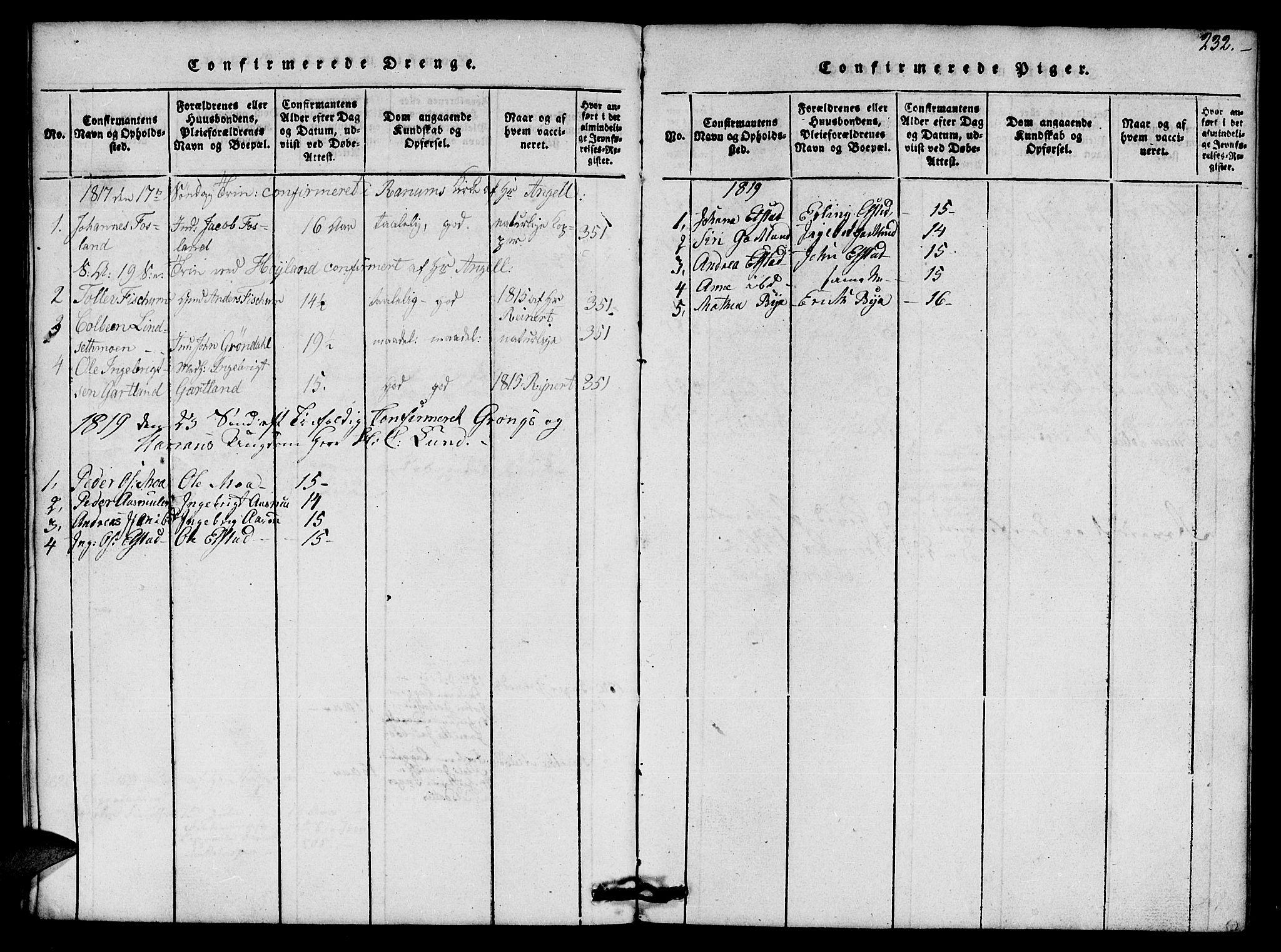 SAT, Ministerialprotokoller, klokkerbøker og fødselsregistre - Nord-Trøndelag, 759/L0527: Klokkerbok nr. 759C01 /1, 1816-1825, s. 232