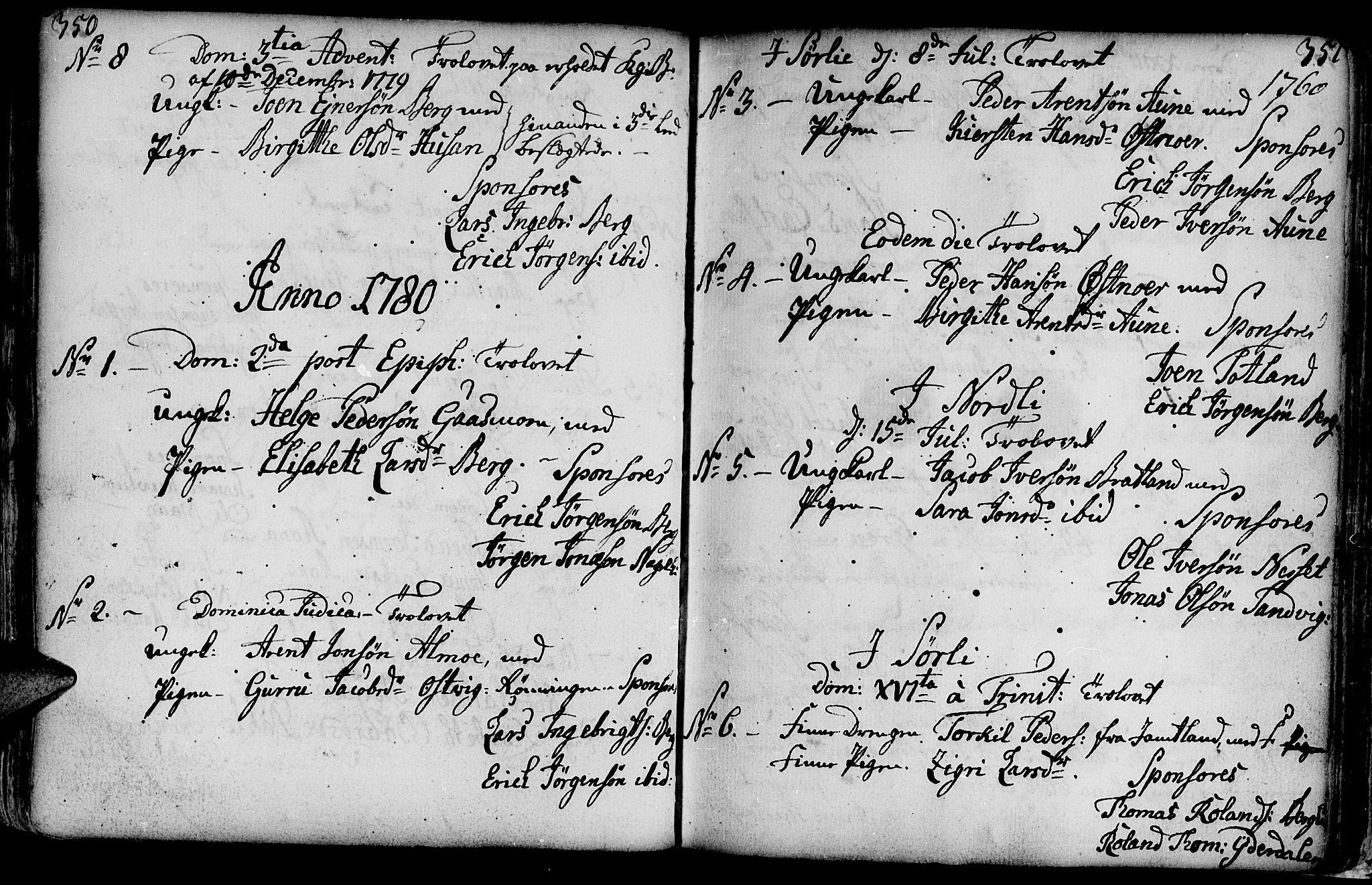 SAT, Ministerialprotokoller, klokkerbøker og fødselsregistre - Nord-Trøndelag, 749/L0467: Ministerialbok nr. 749A01, 1733-1787, s. 350-351