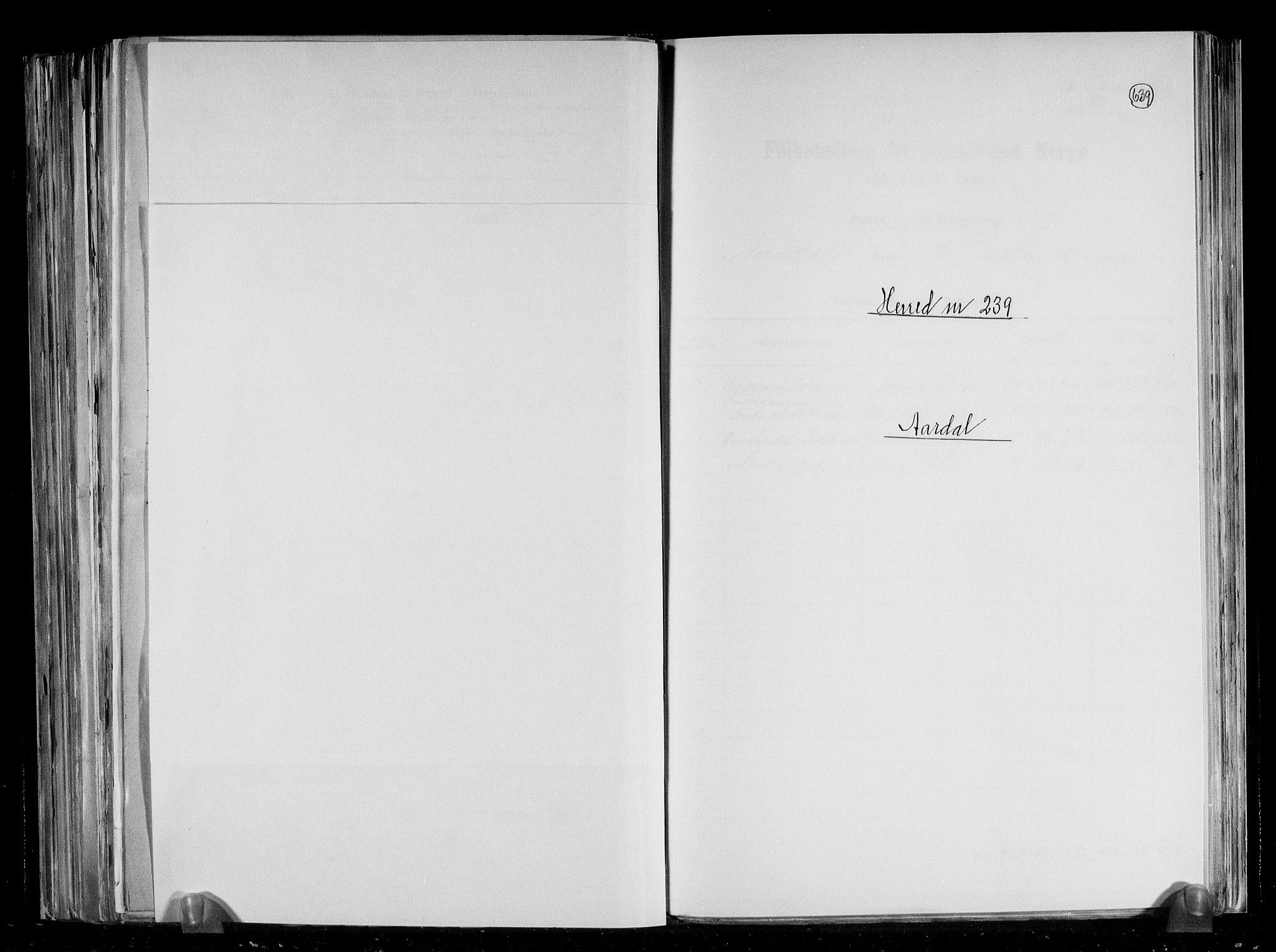 RA, Folketelling 1891 for 1131 Årdal herred, 1891, s. 1