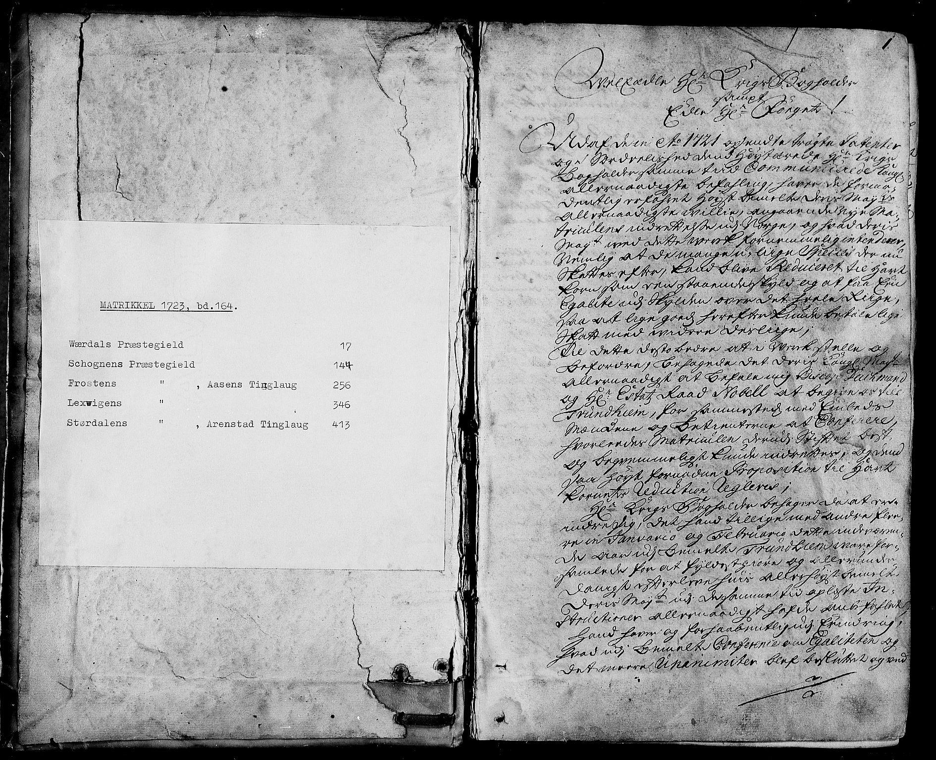 RA, Rentekammeret inntil 1814, Realistisk ordnet avdeling, N/Nb/Nbf/L0164: Stjørdal og Verdal eksaminasjonsprotokoll, 1723, s. 1a