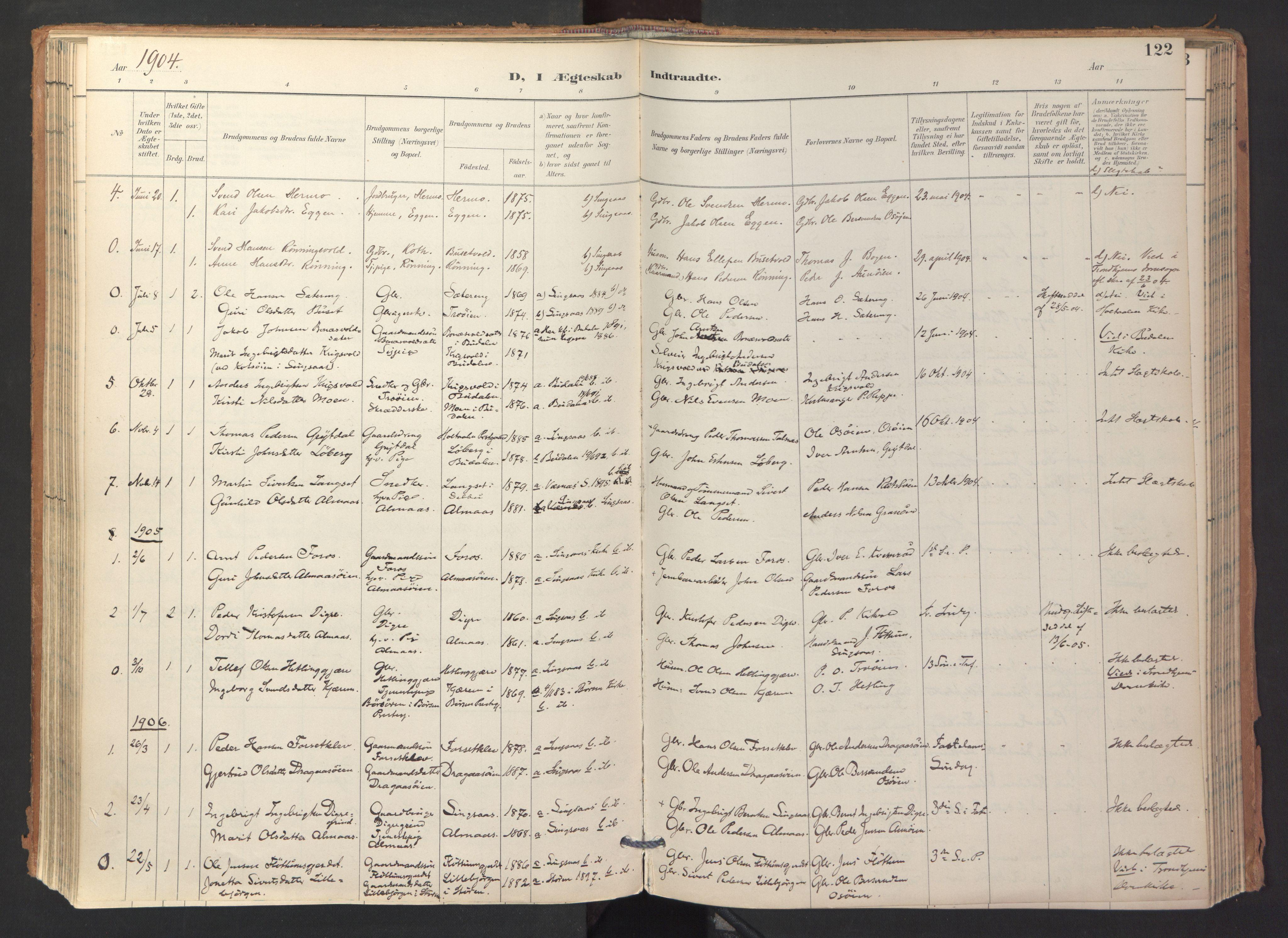 SAT, Ministerialprotokoller, klokkerbøker og fødselsregistre - Sør-Trøndelag, 688/L1025: Ministerialbok nr. 688A02, 1891-1909, s. 122