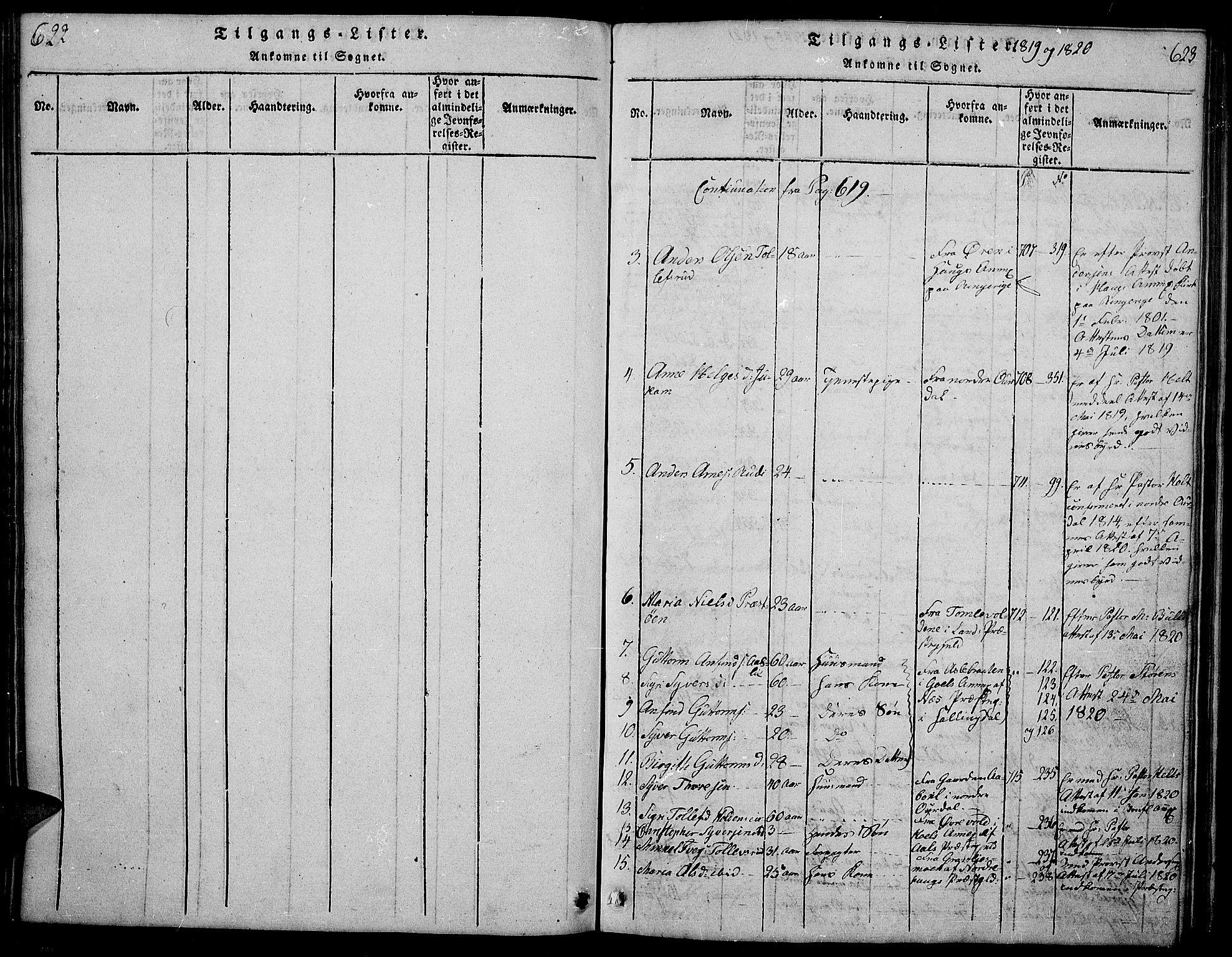 SAH, Sør-Aurdal prestekontor, Klokkerbok nr. 1, 1815-1826, s. 622-623
