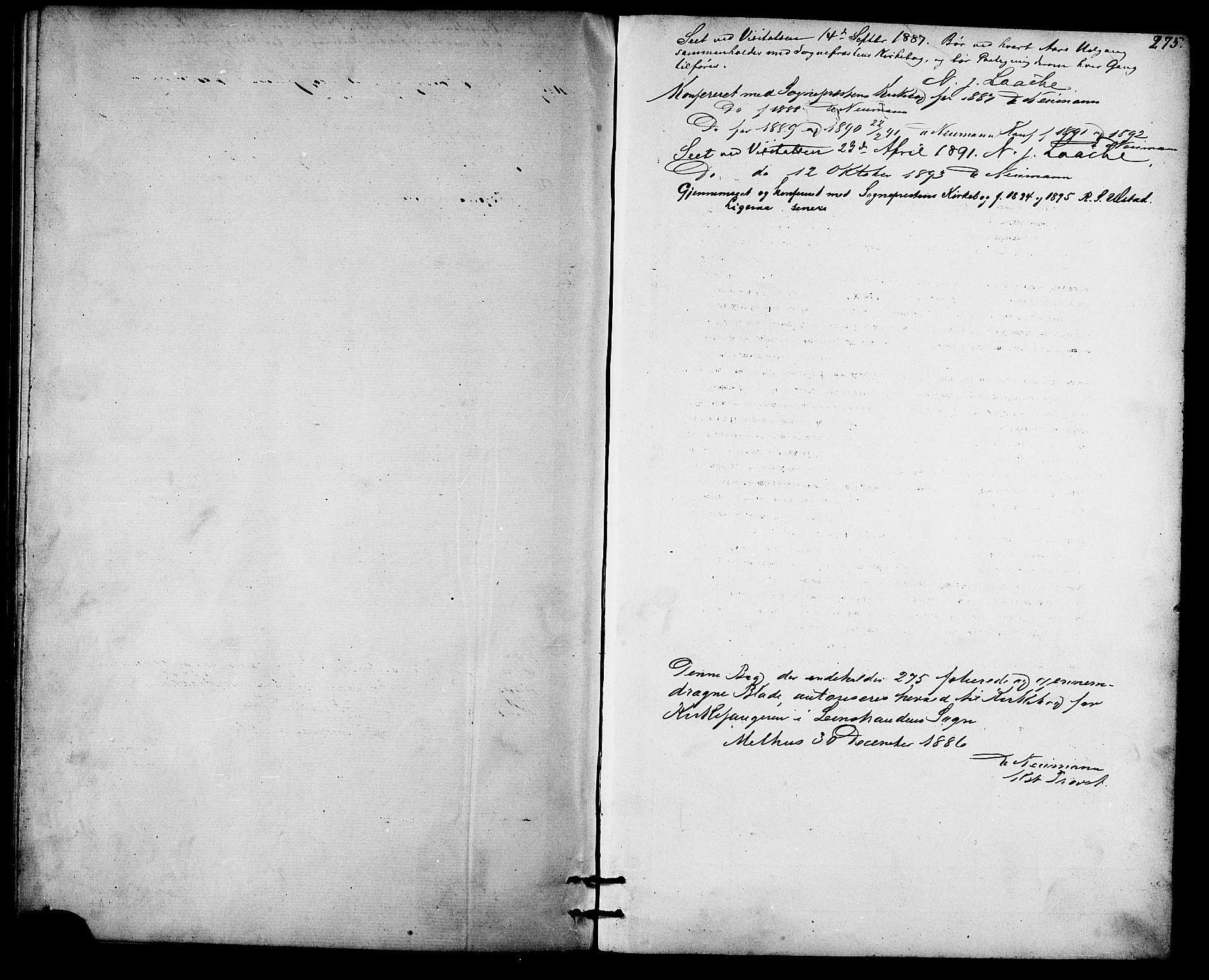SAT, Ministerialprotokoller, klokkerbøker og fødselsregistre - Sør-Trøndelag, 613/L0395: Klokkerbok nr. 613C03, 1887-1909, s. 275
