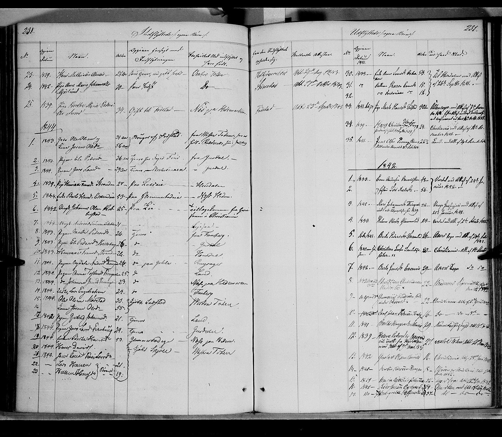 SAH, Østre Toten prestekontor, Ministerialbok nr. 2, 1840-1847, s. 231