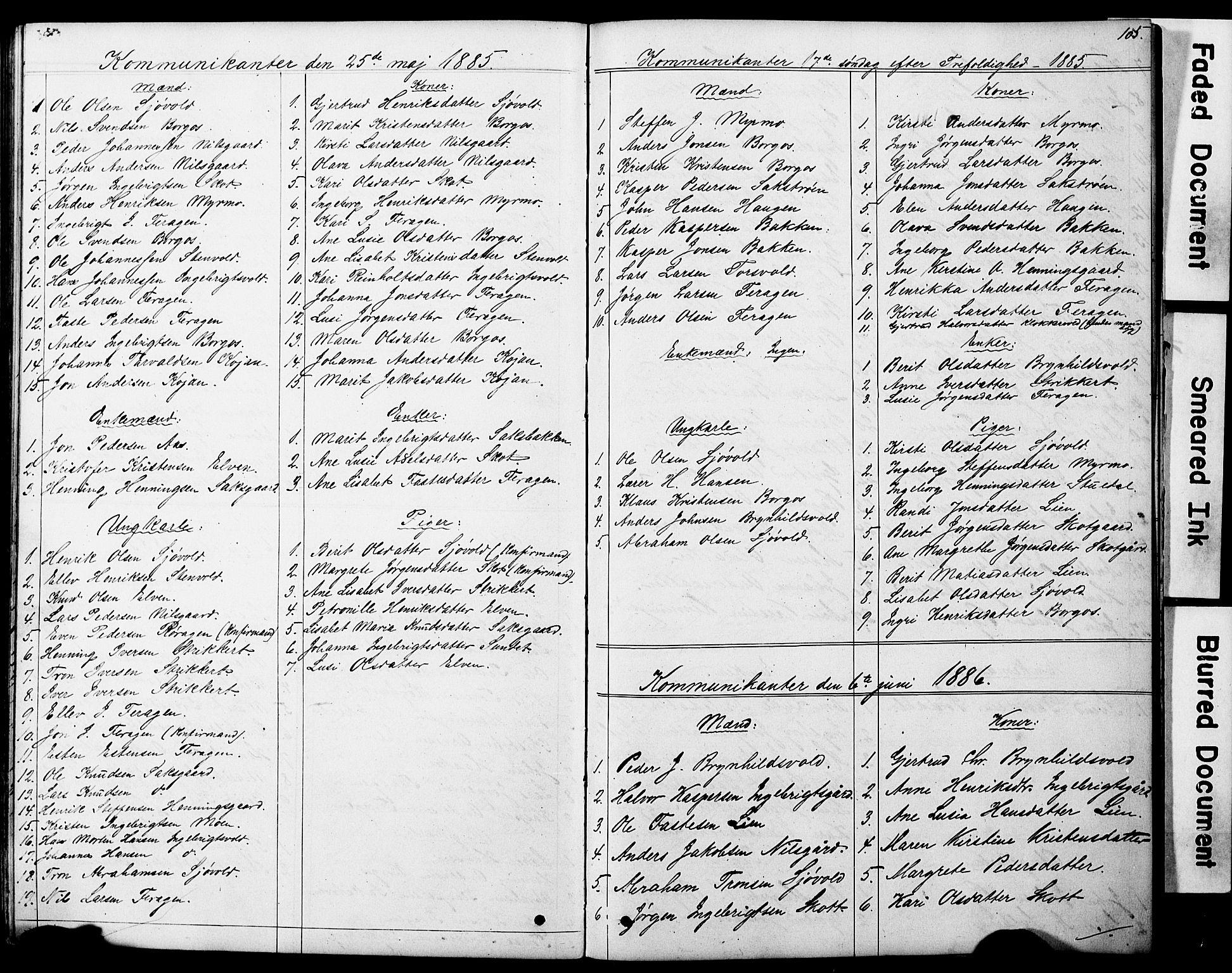 SAT, Ministerialprotokoller, klokkerbøker og fødselsregistre - Sør-Trøndelag, 683/L0949: Klokkerbok nr. 683C01, 1880-1896, s. 105
