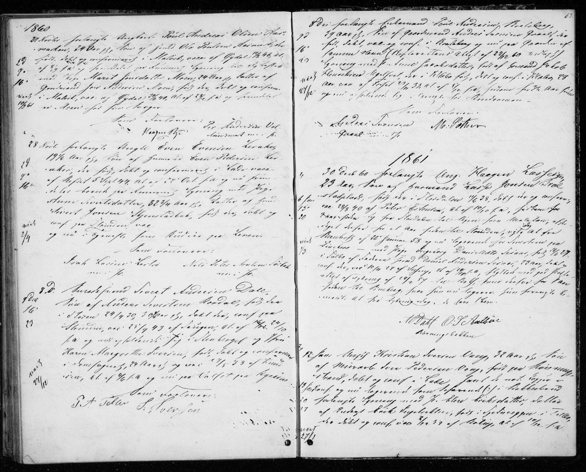 SAT, Ministerialprotokoller, klokkerbøker og fødselsregistre - Sør-Trøndelag, 606/L0297: Lysningsprotokoll nr. 606A12, 1854-1861, s. 63