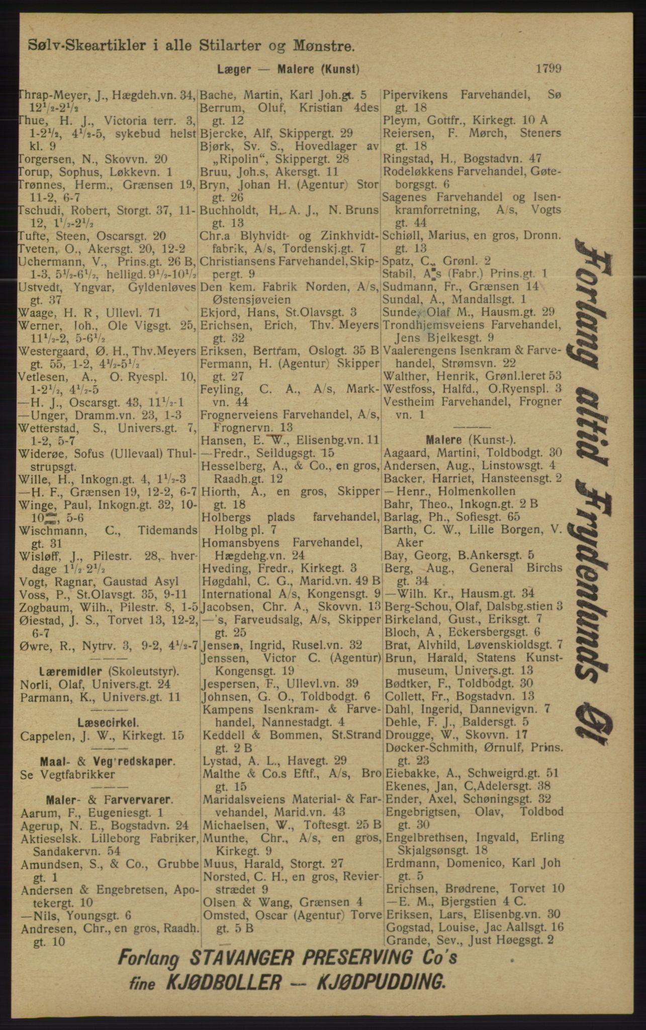 RA, Kristiania adressebok (publikasjon)*, 1913, s. 1799
