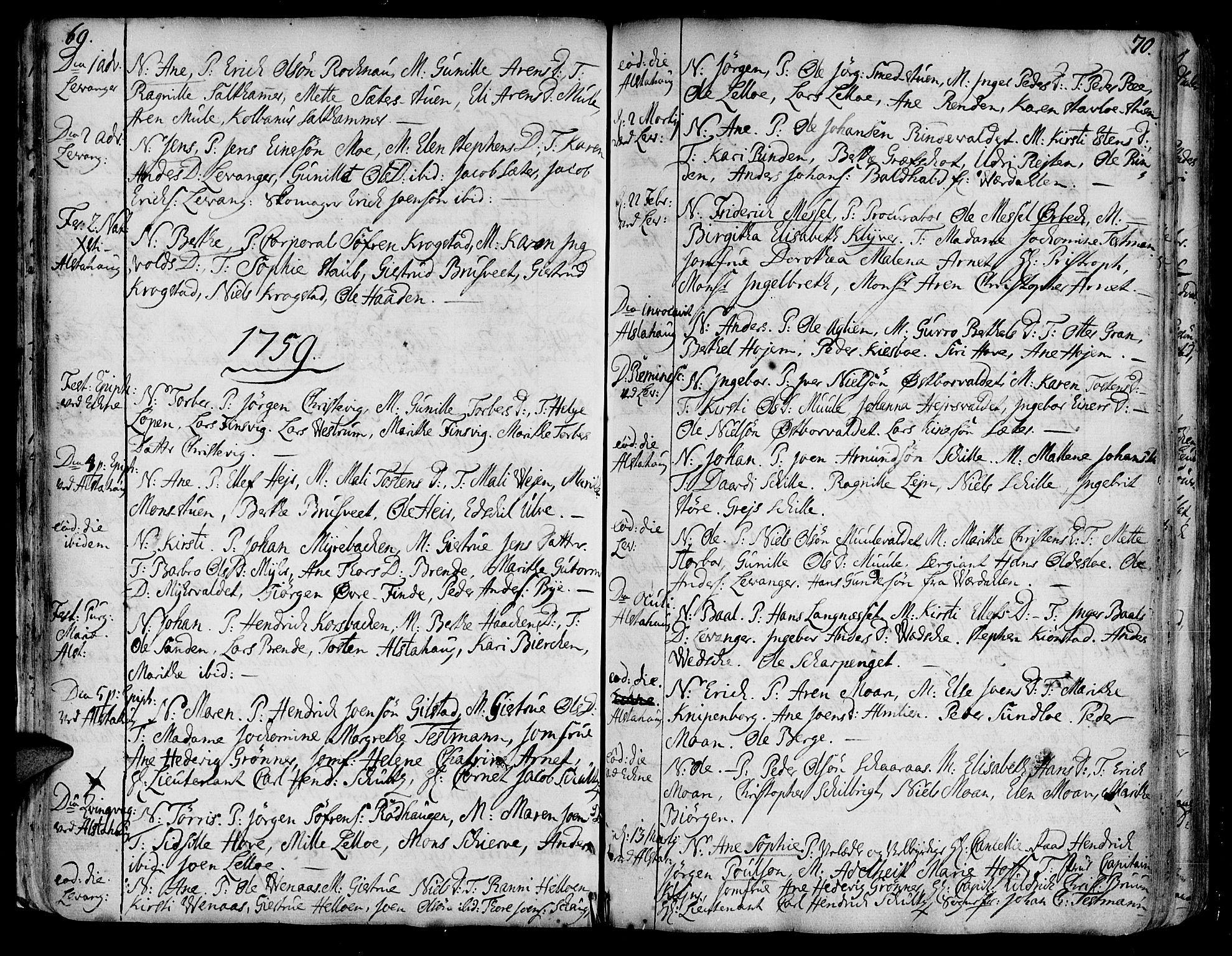 SAT, Ministerialprotokoller, klokkerbøker og fødselsregistre - Nord-Trøndelag, 717/L0141: Ministerialbok nr. 717A01, 1747-1803, s. 69-70