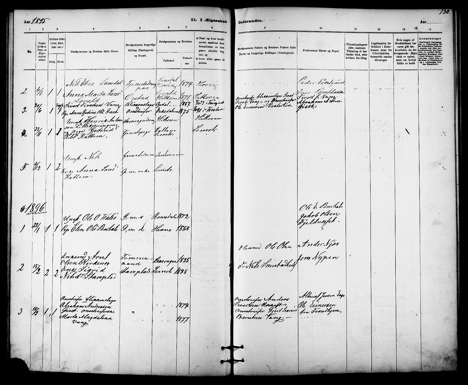 SAT, Ministerialprotokoller, klokkerbøker og fødselsregistre - Sør-Trøndelag, 613/L0395: Klokkerbok nr. 613C03, 1887-1909, s. 130