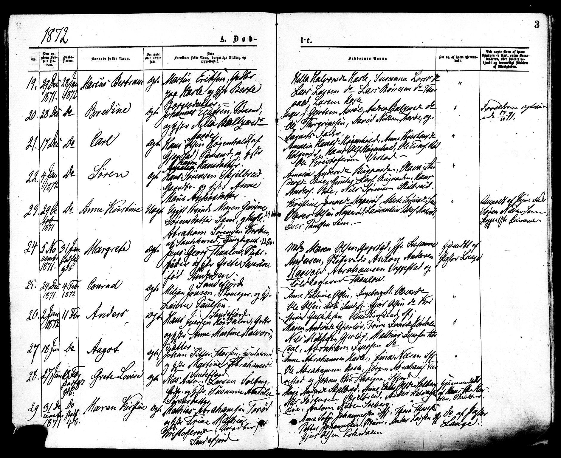 SAKO, Sandar kirkebøker, F/Fa/L0010: Ministerialbok nr. 10, 1872-1882, s. 3
