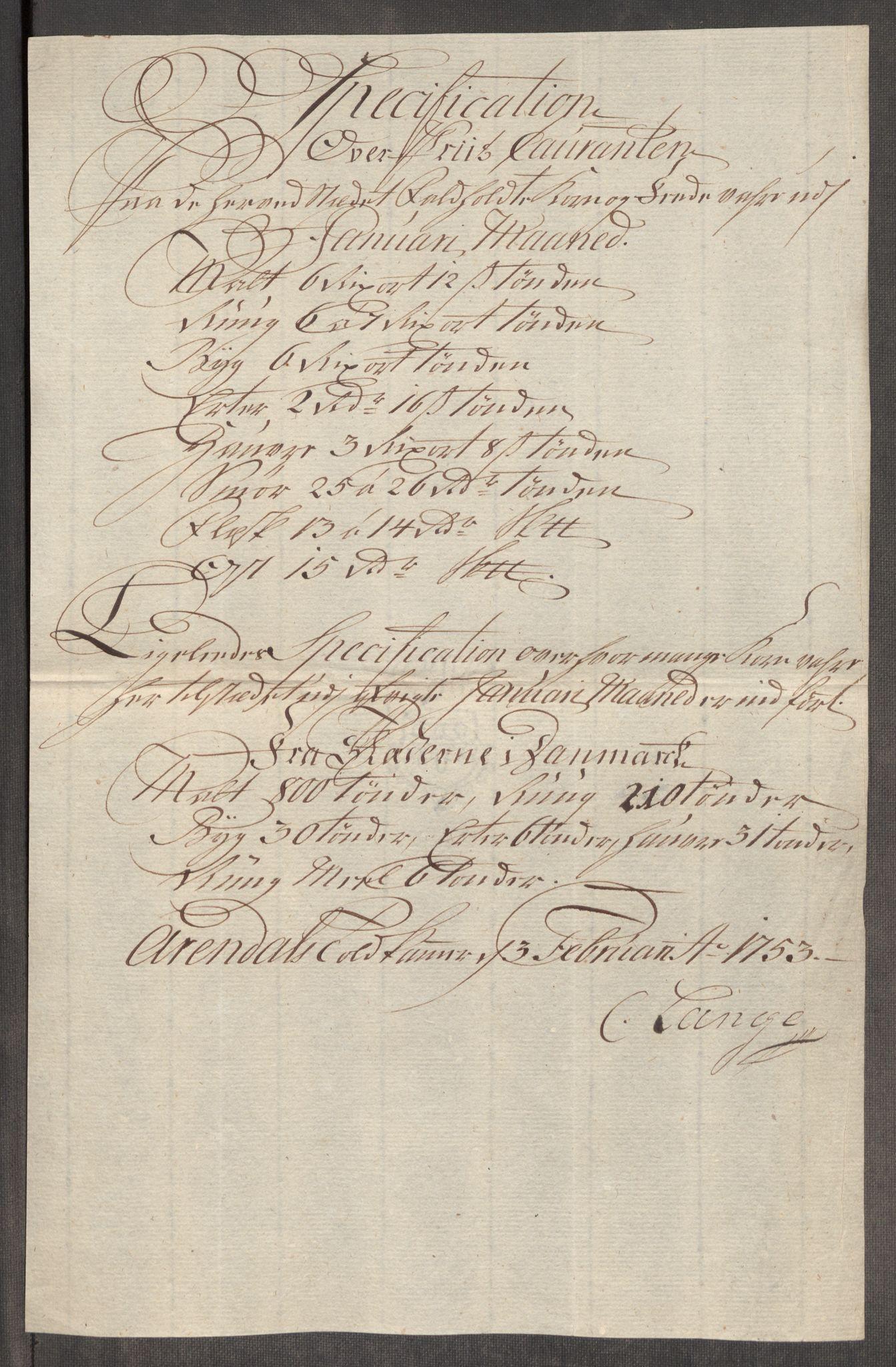 RA, Rentekammeret inntil 1814, Realistisk ordnet avdeling, Oe/L0005: [Ø1]: Priskuranter, 1753-1757, s. 130