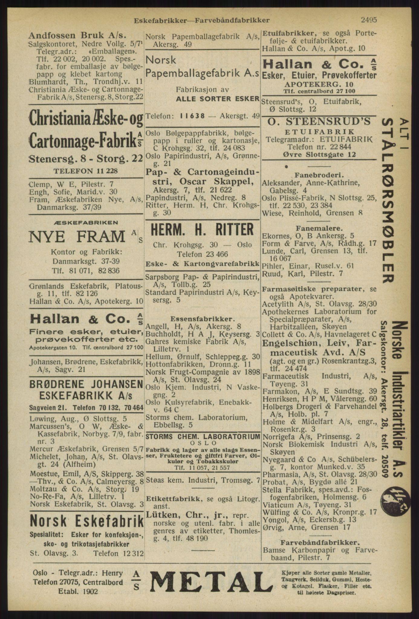 RA, Oslo adressebok (publikasjon)*, 1936, s. 2495