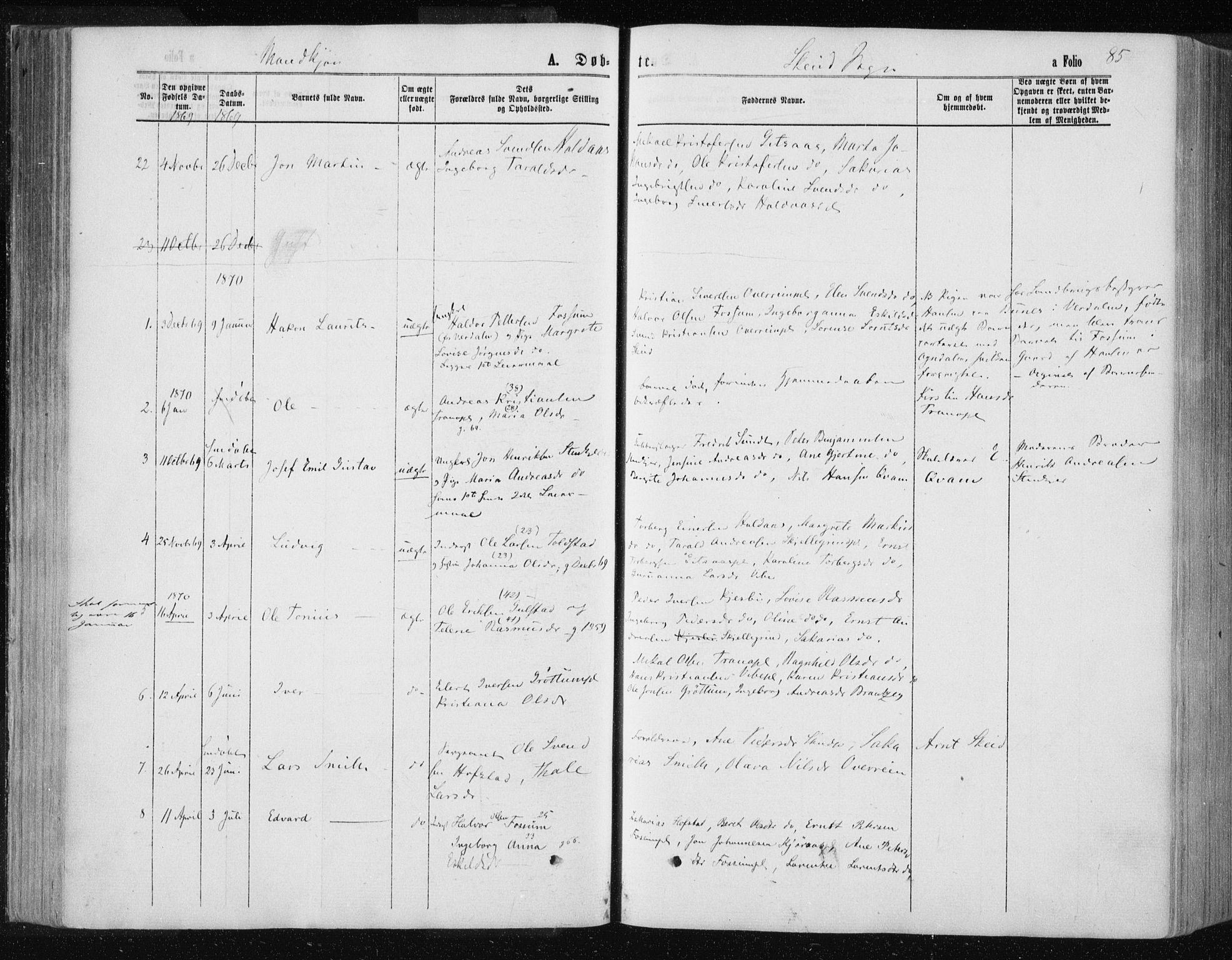 SAT, Ministerialprotokoller, klokkerbøker og fødselsregistre - Nord-Trøndelag, 735/L0345: Ministerialbok nr. 735A08 /2, 1863-1872, s. 85