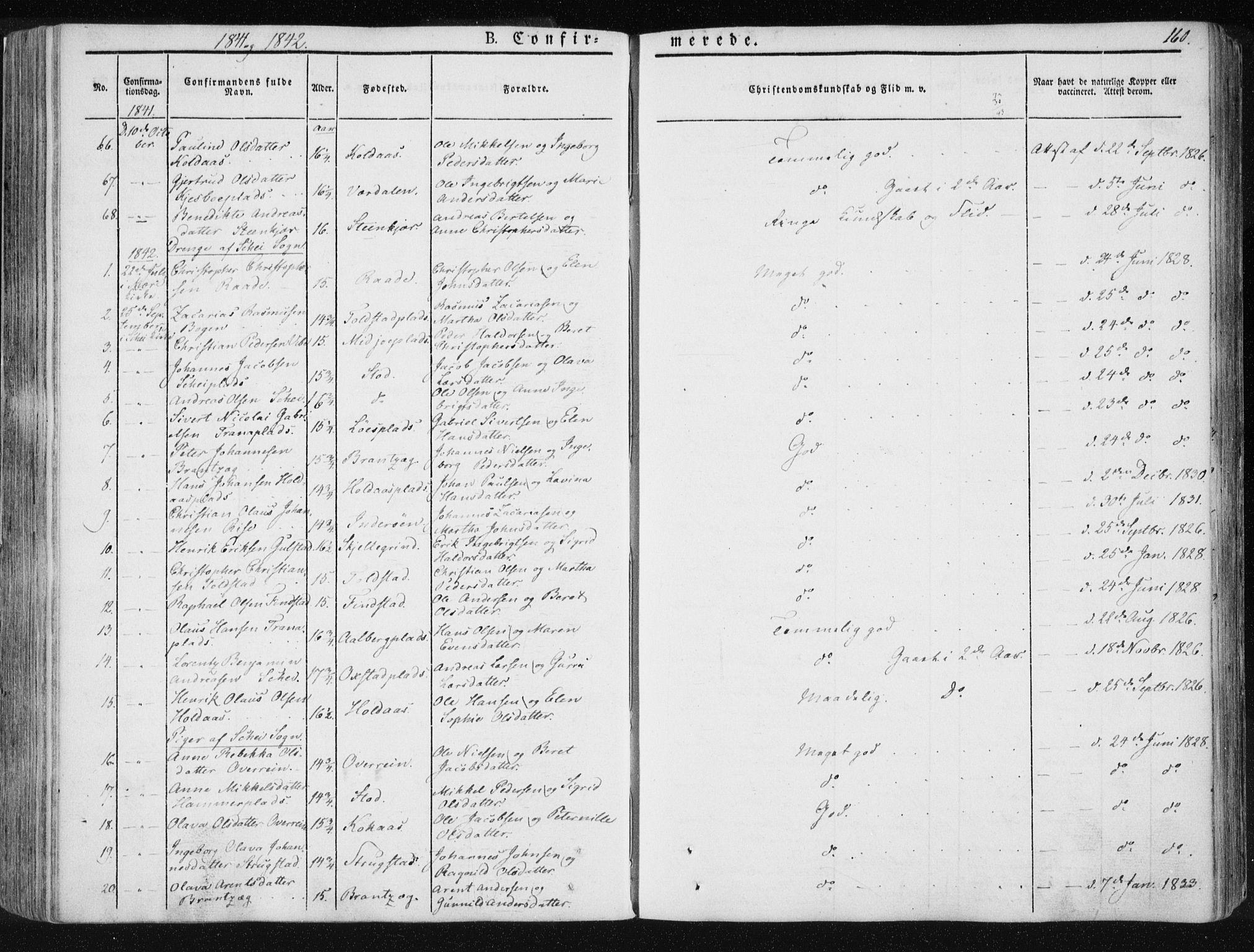 SAT, Ministerialprotokoller, klokkerbøker og fødselsregistre - Nord-Trøndelag, 735/L0339: Ministerialbok nr. 735A06 /1, 1836-1848, s. 160