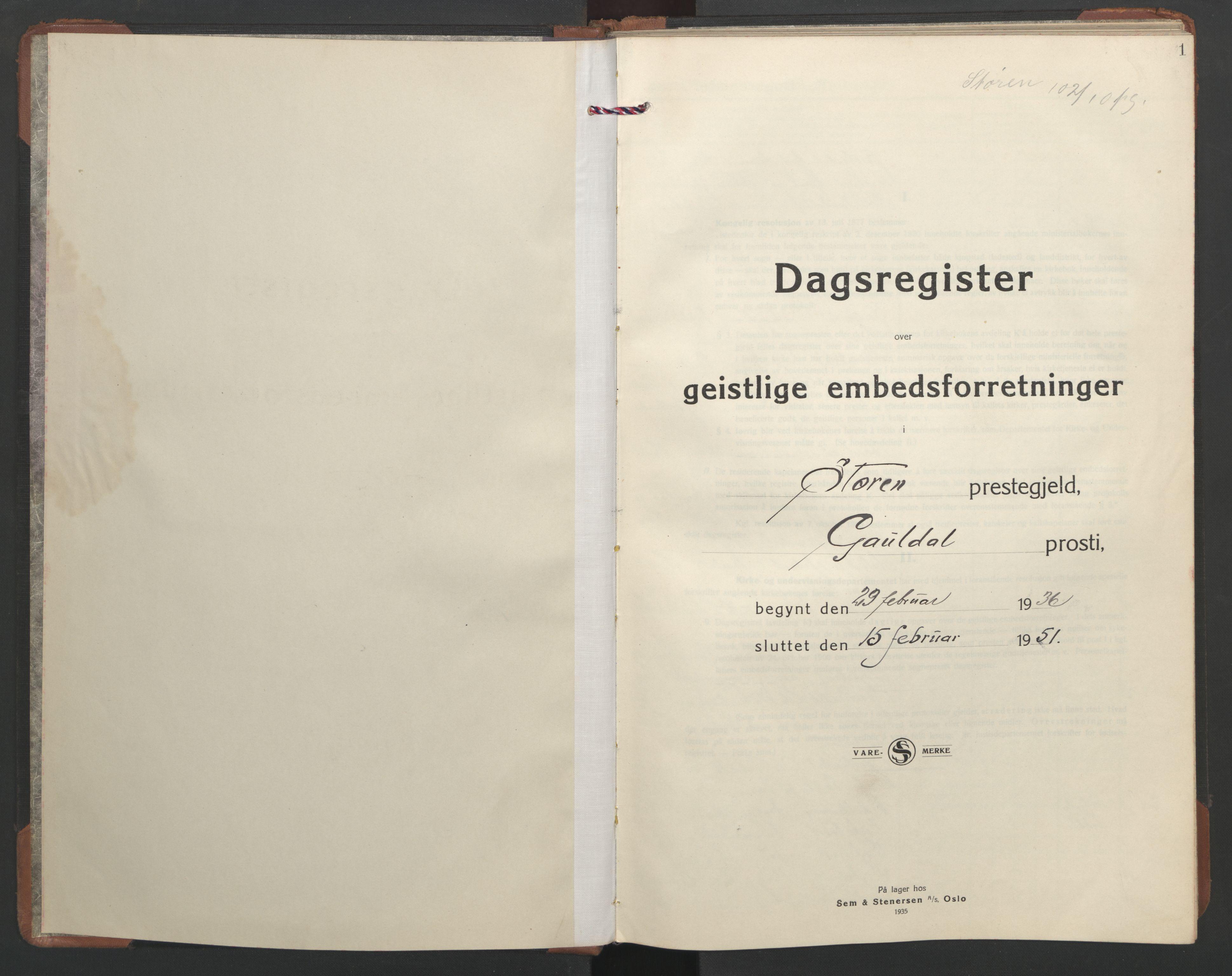 SAT, Ministerialprotokoller, klokkerbøker og fødselsregistre - Sør-Trøndelag, 687/L1014: Ministerialbok nr. 687B03, 1936-1951, s. 1