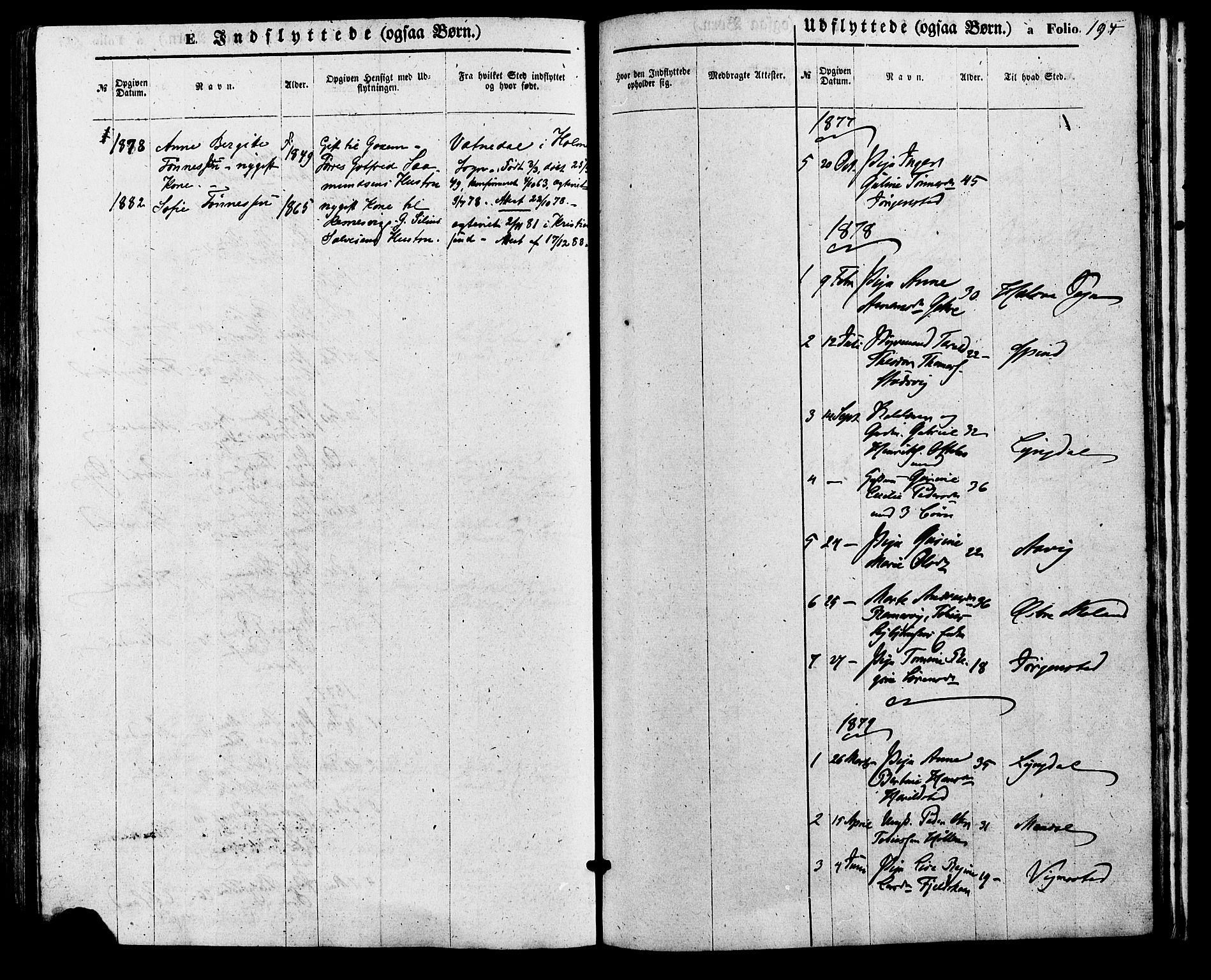 SAK, Sør-Audnedal sokneprestkontor, F/Fa/Faa/L0003: Ministerialbok nr. A 3, 1868-1883, s. 194